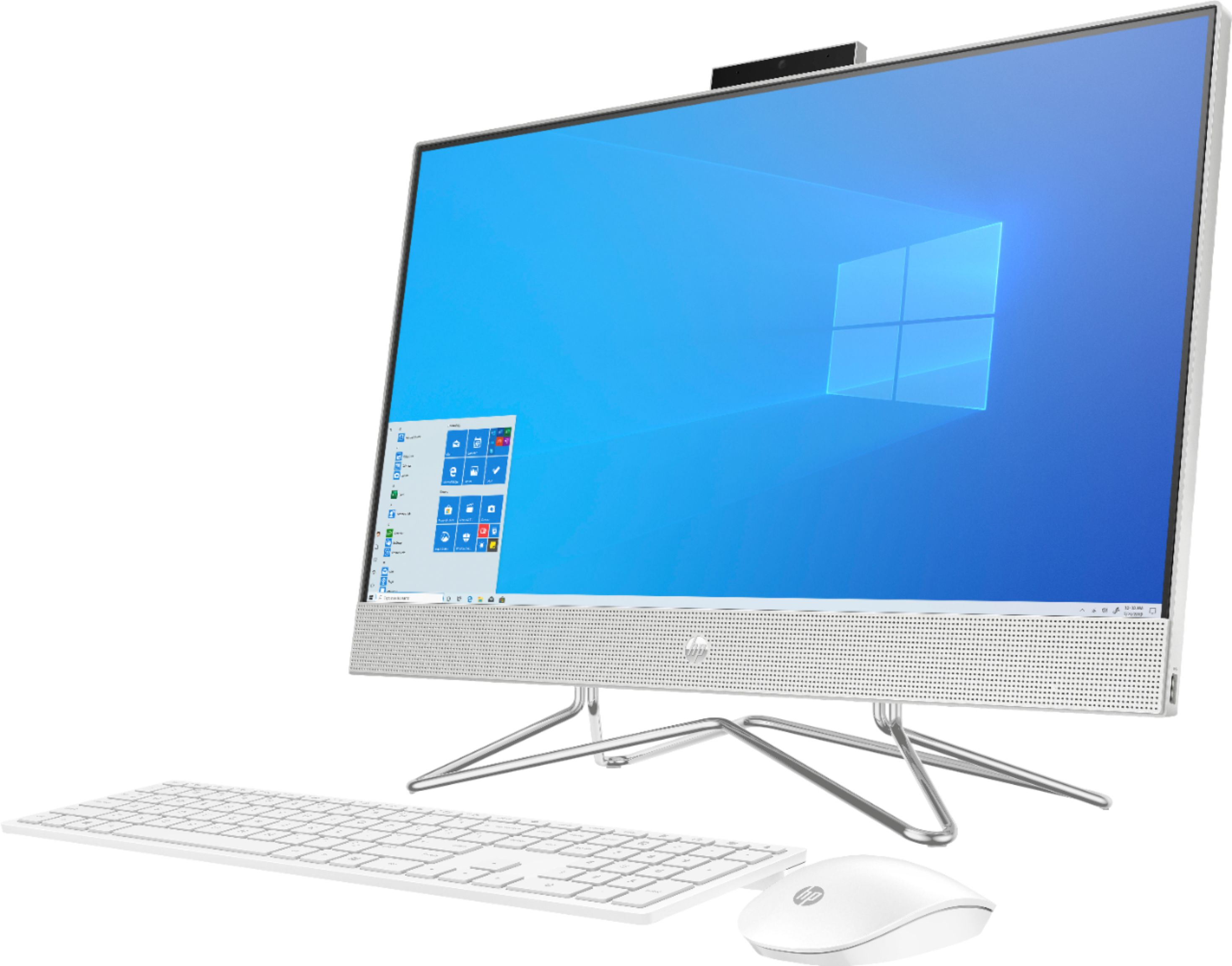 """Left Zoom. HP - 23.8"""" Touch-Screen All-In-One - AMD Ryzen 5-Series - 12GB Memory - 256GB SSD - Natural Silver."""