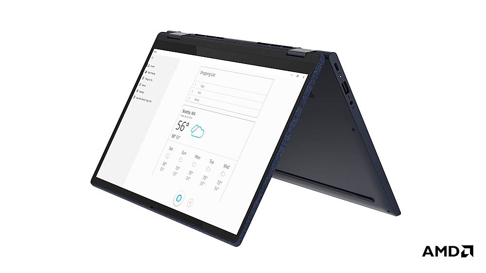 """Angle Zoom. Lenovo Yoga 6 13 2-in-1 13.3"""" Touch Screen Laptop - AMD Ryzen 7 - 16GB Memory - 1024GB SSD - Abyss Blue Fabric Cover."""