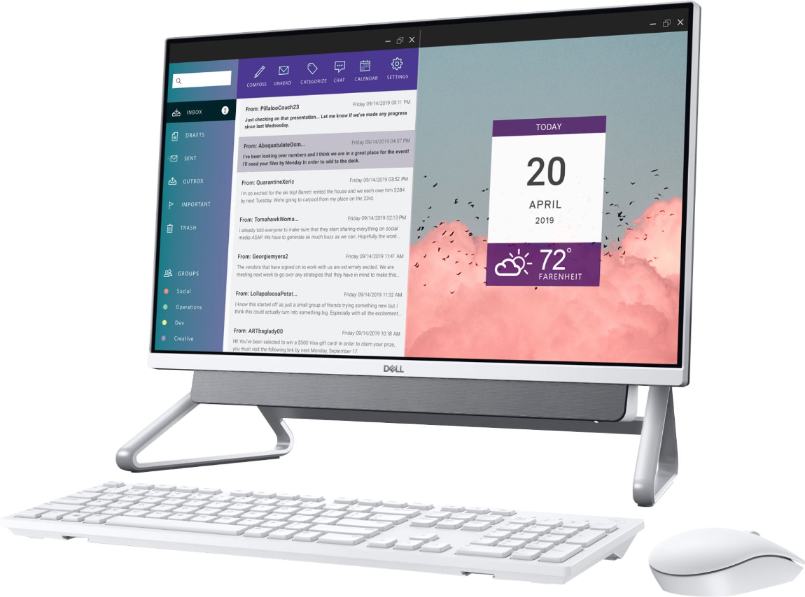 """Angle Zoom. Dell - Inspiron 24"""" Touch-Screen All-In-One - Intel Core i7 - 16GB Memory - 512GB SSD - Silver."""
