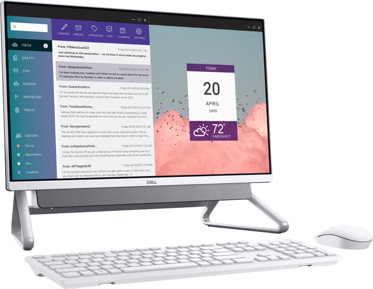 """Left Zoom. Dell - Inspiron 24"""" Touch-Screen All-In-One - Intel Core i7 - 16GB Memory - 512GB SSD - Silver."""