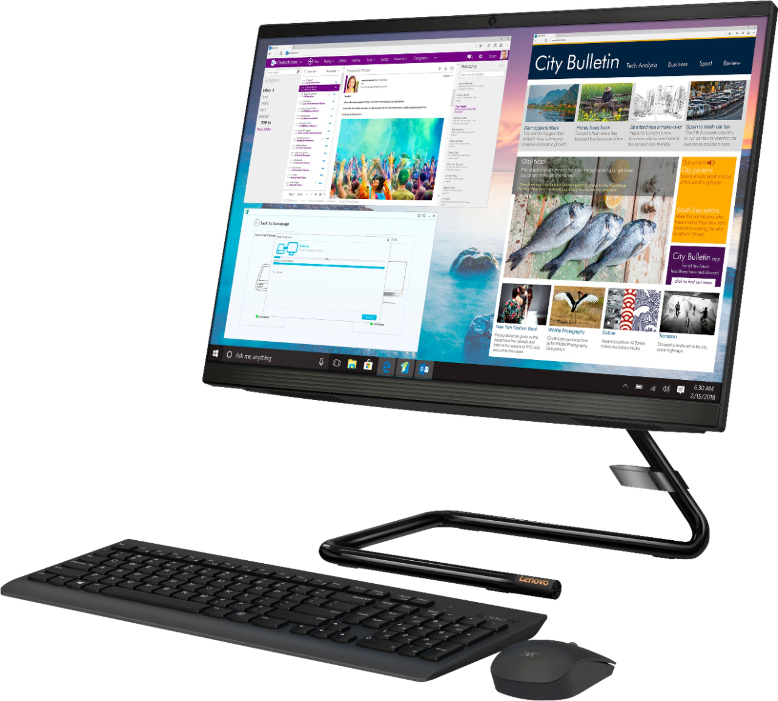"""Left Zoom. Lenovo - IdeaCentre A340-22IGM 21.5"""" Touch-Screen All-In-One - Intel Pentium Silver - 8GB Memory - 1TB HDD - Business Black."""