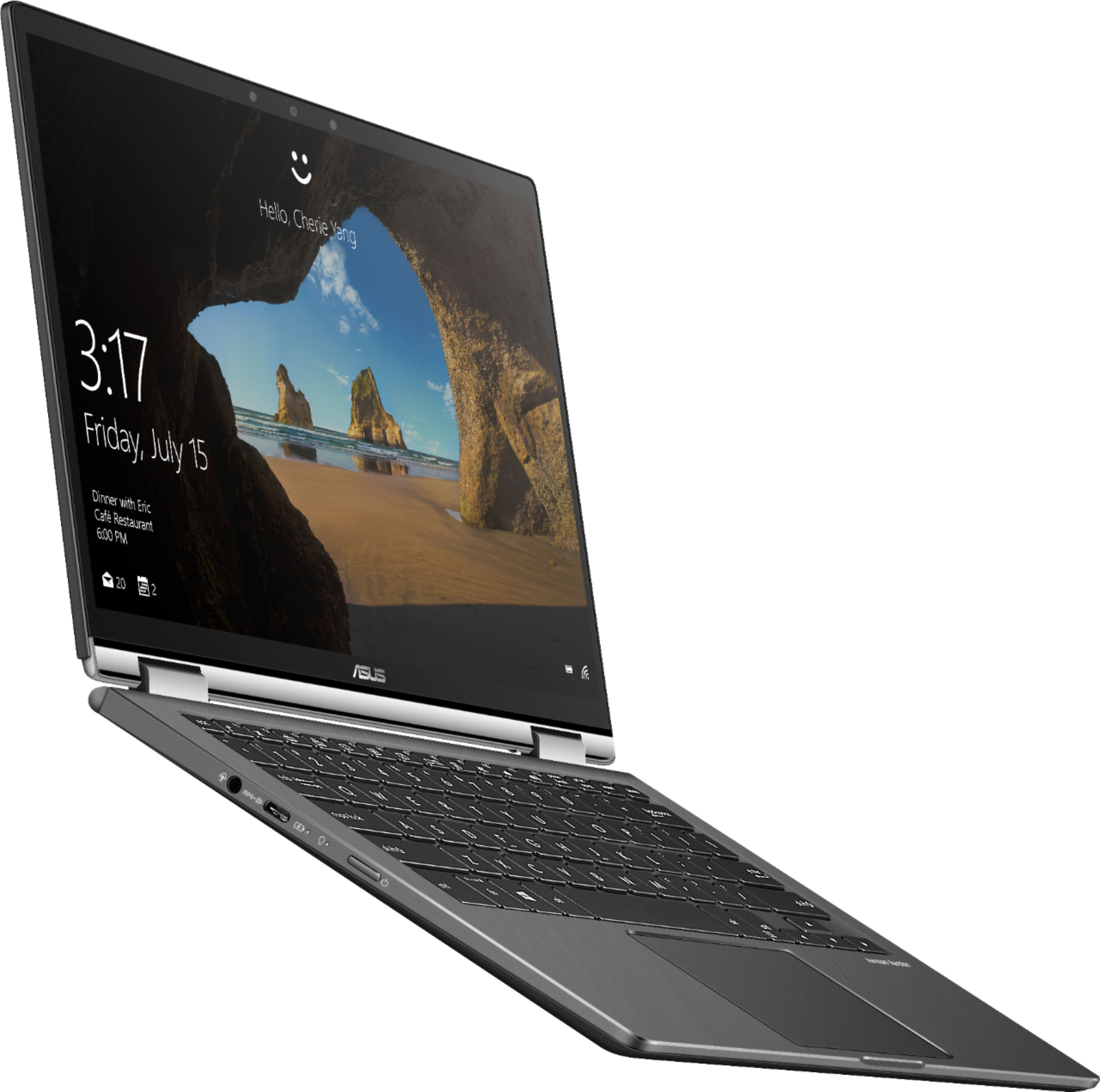 """Angle Zoom. ASUS - Geek Squad Certified Refurbished 2-in-1 13.3"""" Touch-Screen Laptop - Intel Core i7 - 16GB Memory - 256GB SSD - Gun Metal Gray."""