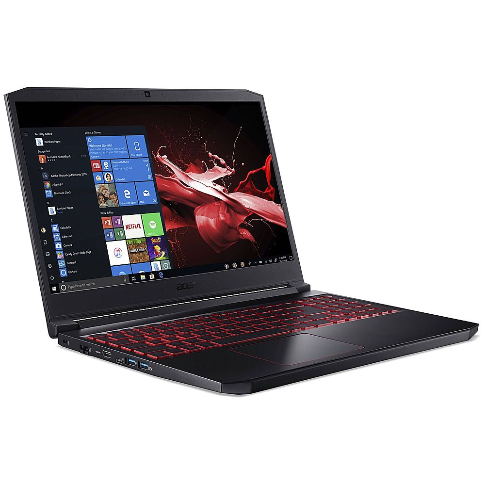 """Angle Zoom. Acer - Nitro 15.6"""" Refurbished Gaming Laptop - Intel Core i7 94750H - 16GB Memory - 512GB Solid State Drive - Black."""