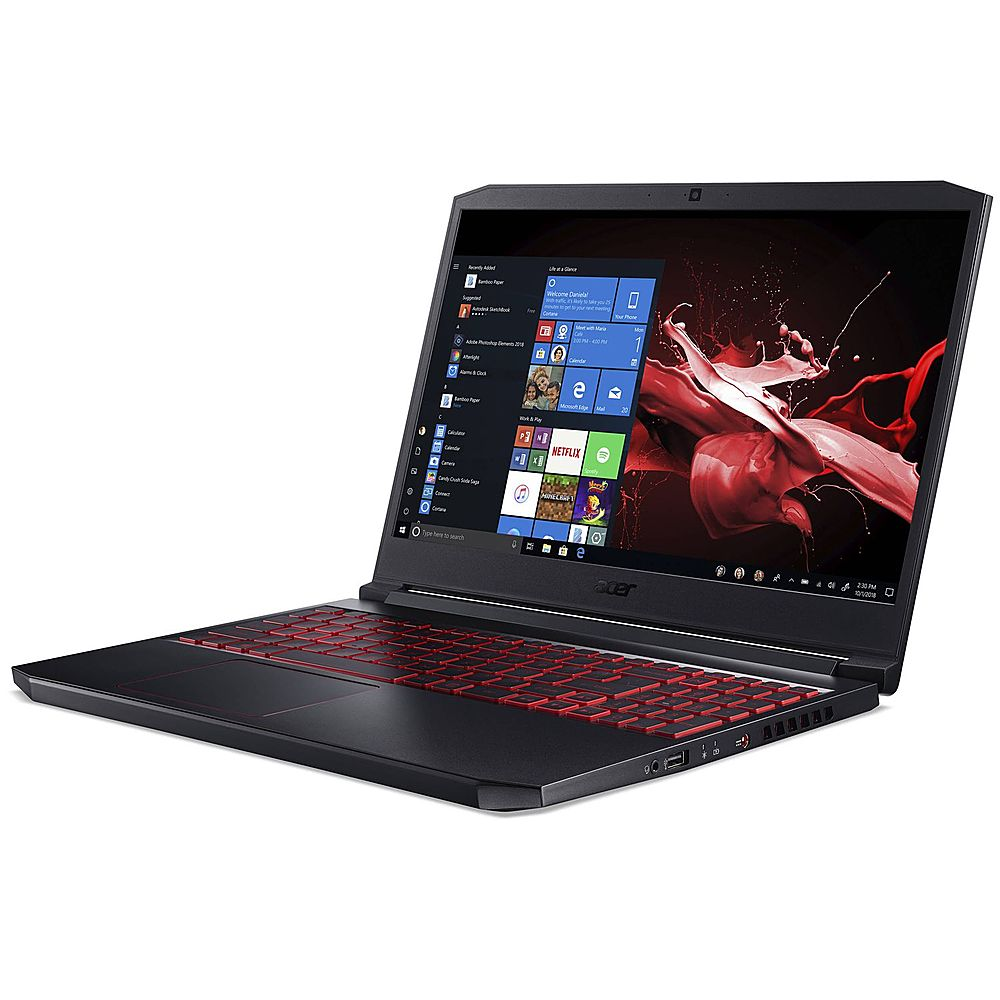 """Left Zoom. Acer - Nitro 15.6"""" Refurbished Gaming Laptop - Intel Core i7 94750H - 16GB Memory - 512GB Solid State Drive - Black."""