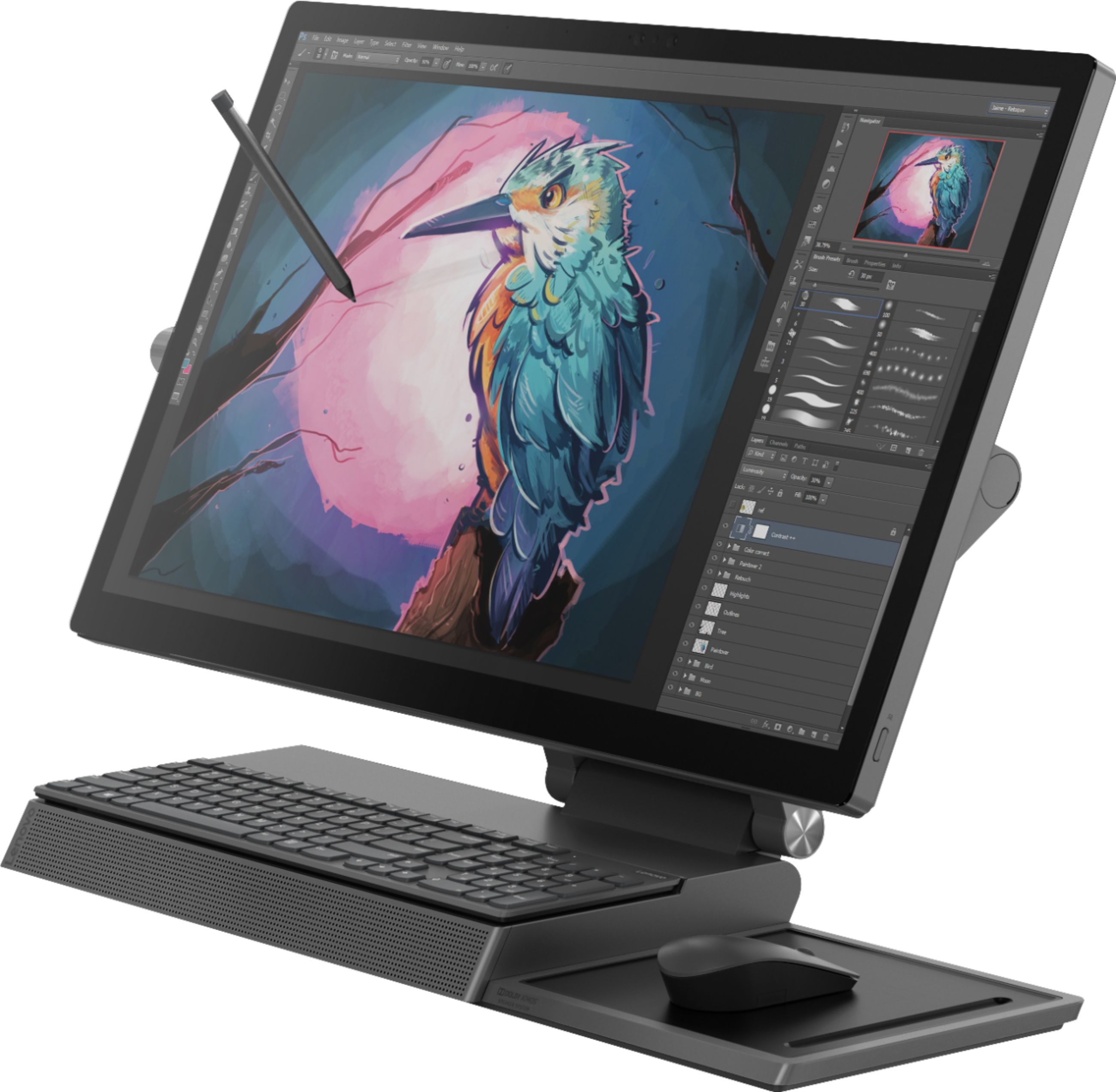 """Left Zoom. Lenovo - Yoga A940-27ICB 27"""" Touch-Screen All-In-One - Intel Core i7 - 16GB Memory - 1TB Hard Drive + 256GB Solid State Drive - Gray."""