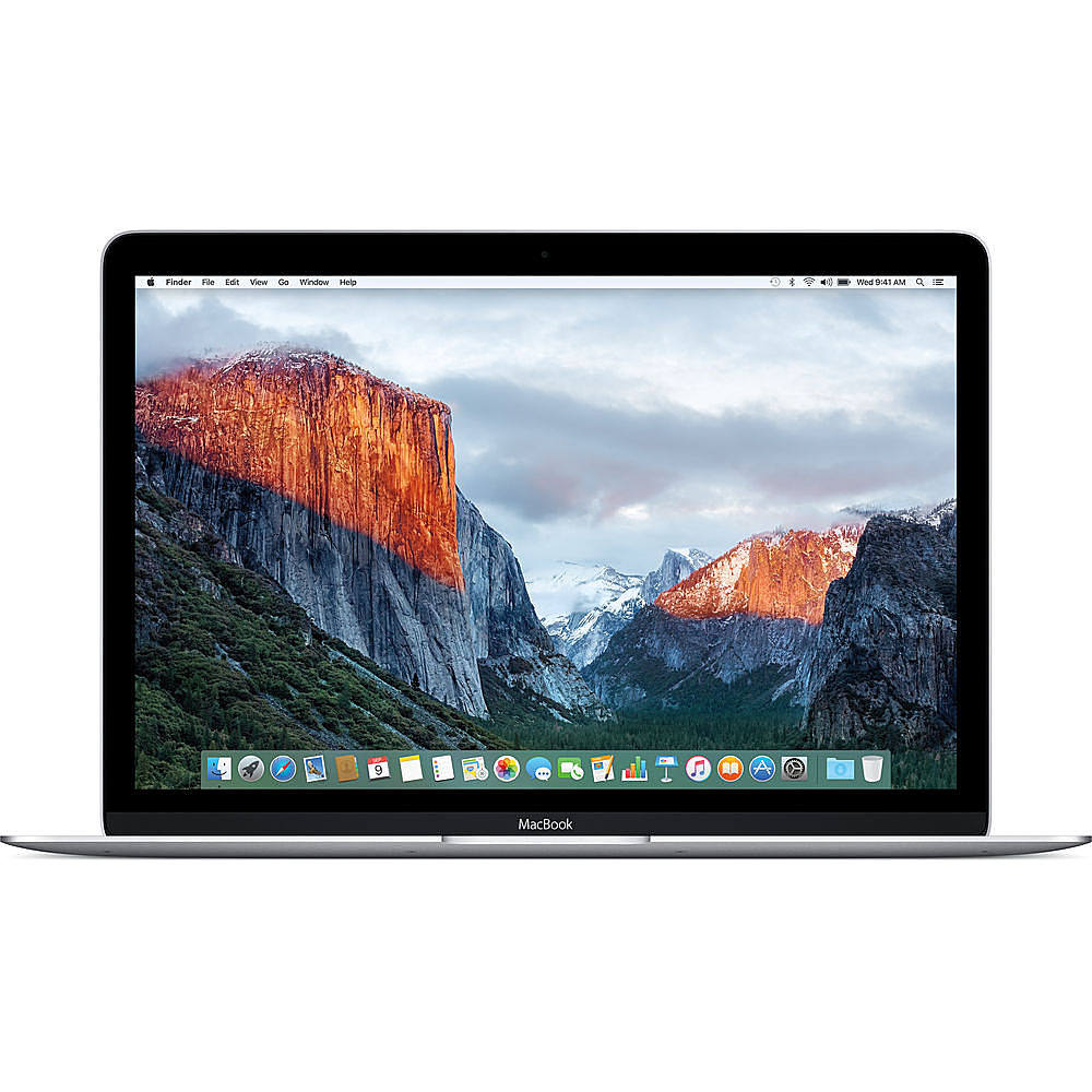 """Front Zoom. Apple - Macbook - 12"""" Pre-Owned - Intel Core M5 - 8GB Memory - 512GB Solid State Drive - Silver."""