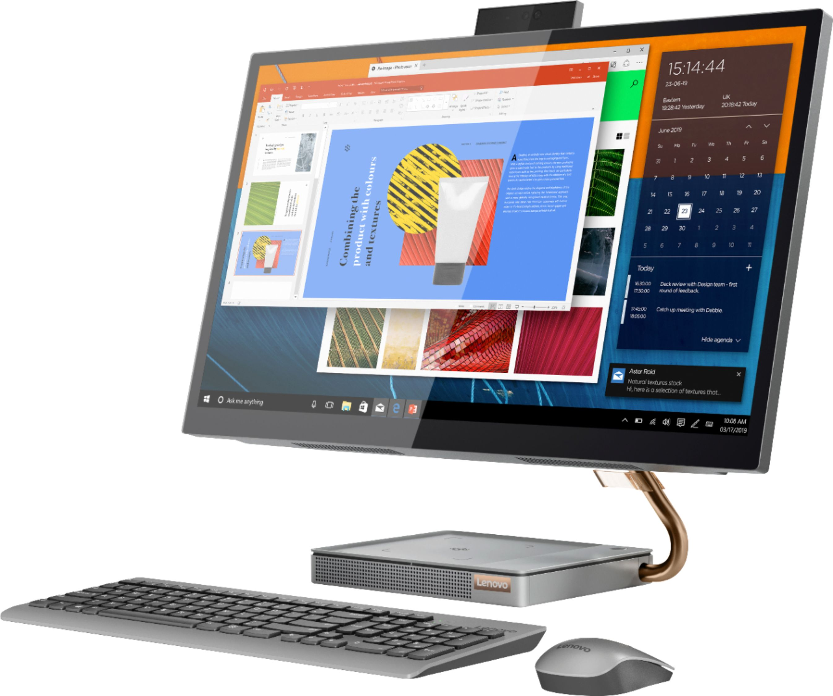 "Left Zoom. Lenovo - IdeaCentre A540-27ICB 27"" Touch-Screen All-In-One - Intel Core i5 - 12GB Memory - 256GB SSD - Mineral Gray."