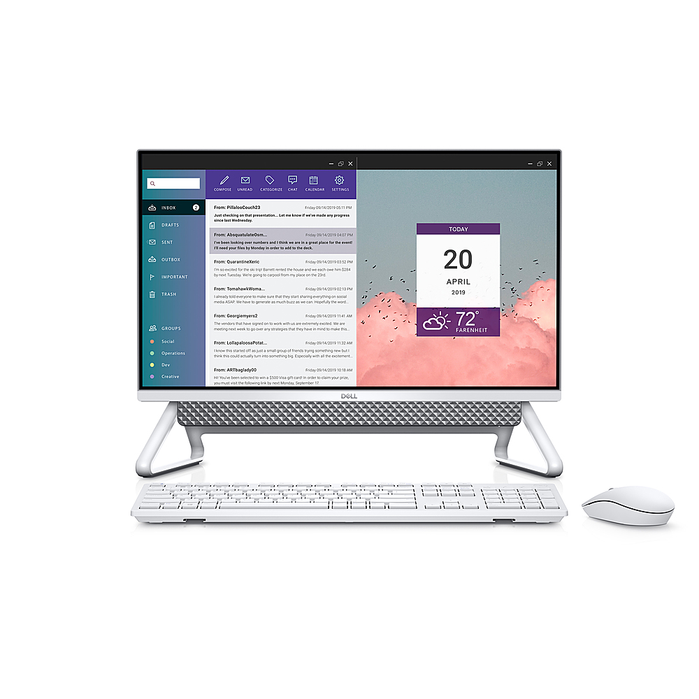 """Front Zoom. Dell - Inspiron 24"""" Touch screen All-In-One - Intel Core i7 - 16GB RAM - 256GB SSD + 1TB HDD - NVIDIA GeForce MX330 - Silver."""
