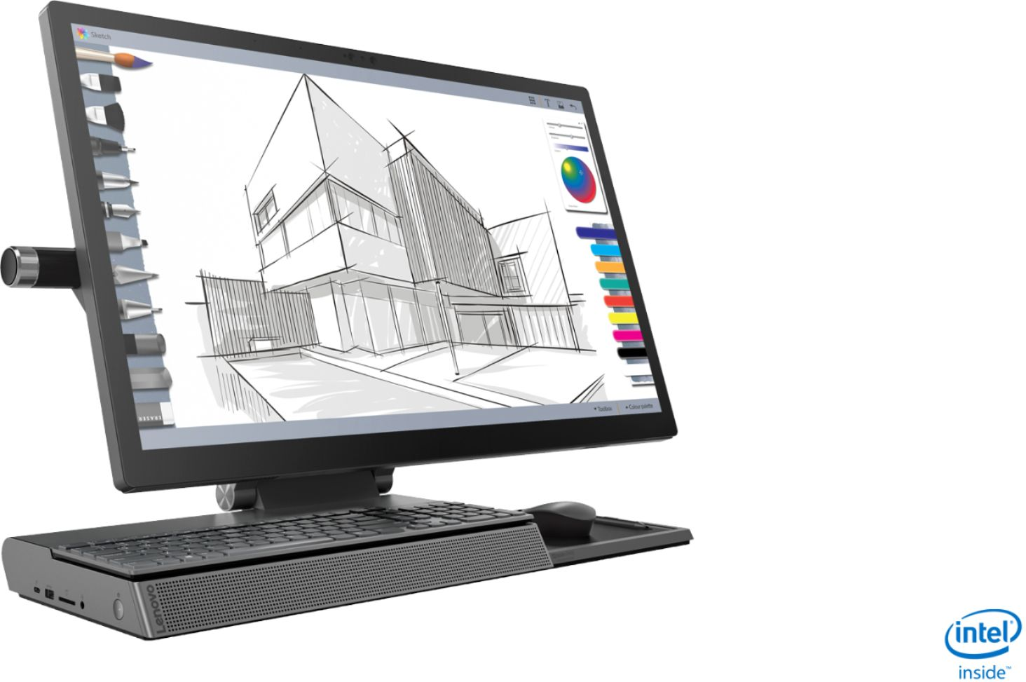 """Angle Zoom. Lenovo - Yoga A940 27"""" Touch-Screen All-In-One - Intel Core i7 - 16GB Memory - 1TB Hard Drive + 256GB Solid State Drive - Grey."""