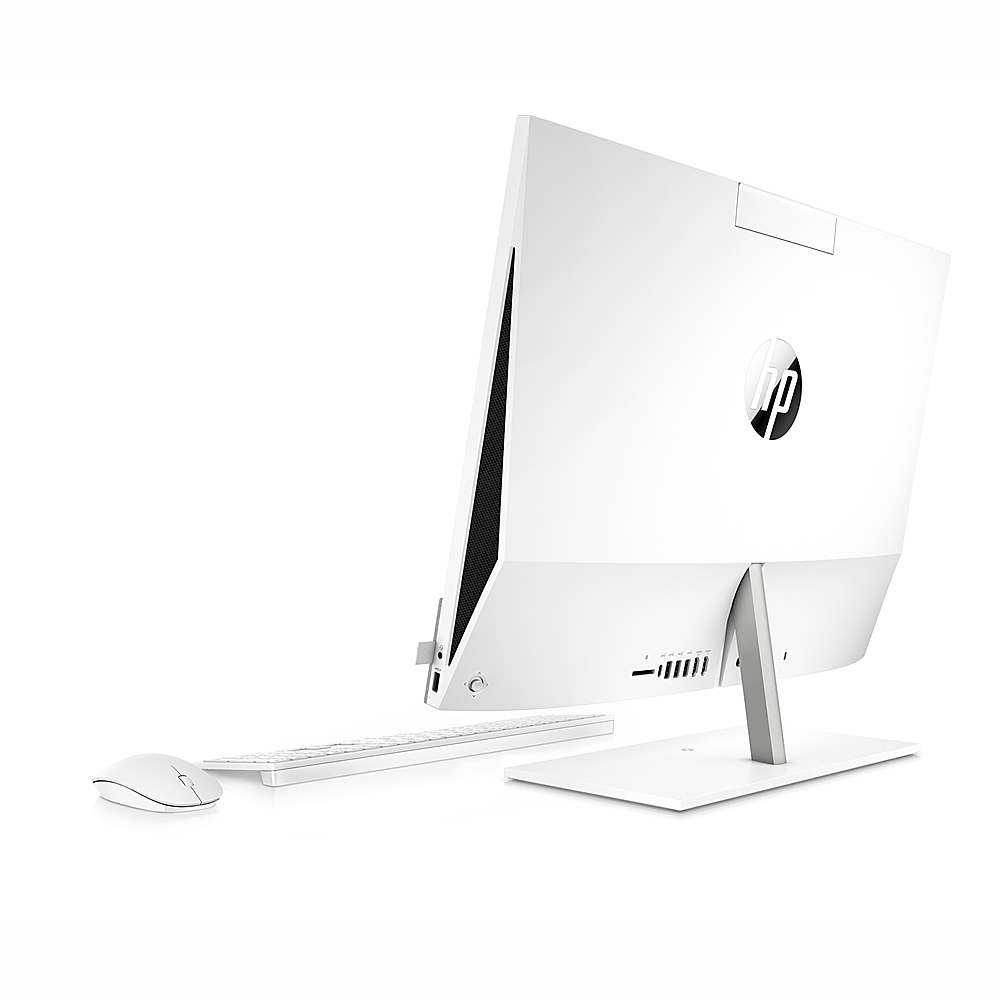 "Back Zoom. HP Pavilion 23.8 "" Touch-Screen All-in-One Intel Core  i7-10700T  16GB Memory 512GB SSD 1TB HDD - Snowflake white."