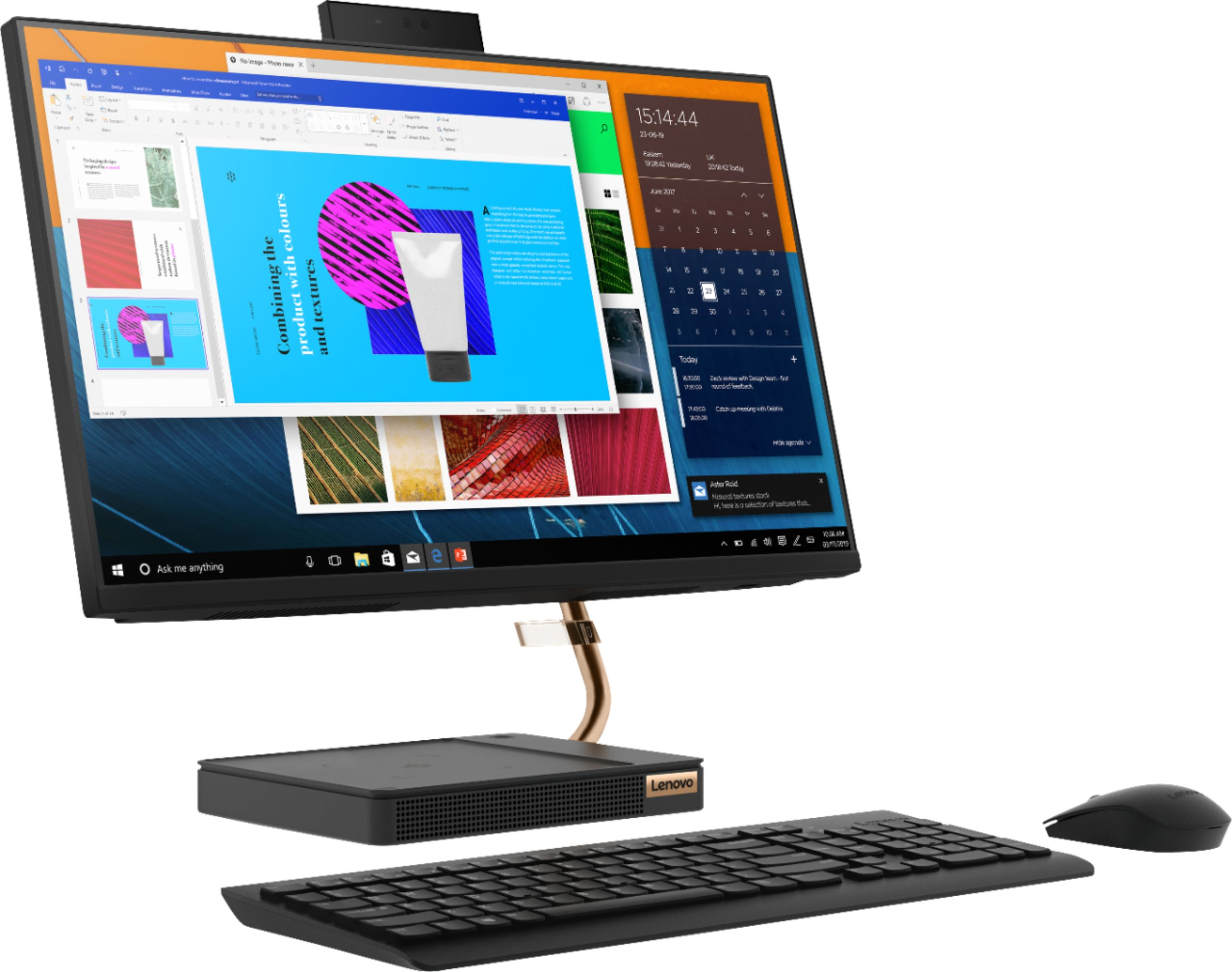 """Angle Zoom. Lenovo - A540-24API 23.8"""" Touch-Screen All-In-One - AMD Ryzen 3-Series - 8GB Memory - 256GB Solid State Drive - Black."""