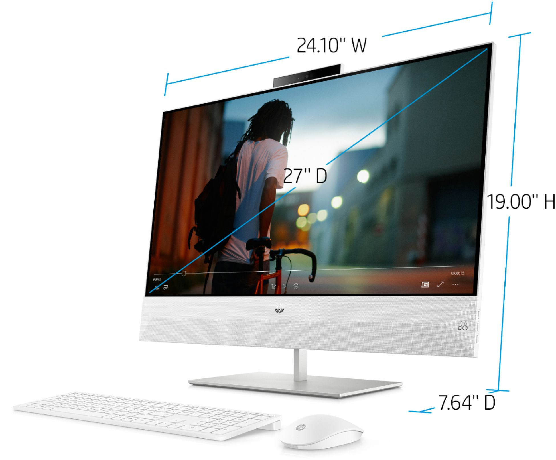 "Left Zoom. HP - Pavilion 27"" Touch-Screen All-In-One - Intel Core i7 - 12GB Memory - 256GB Solid State Drive - Snowflake White."