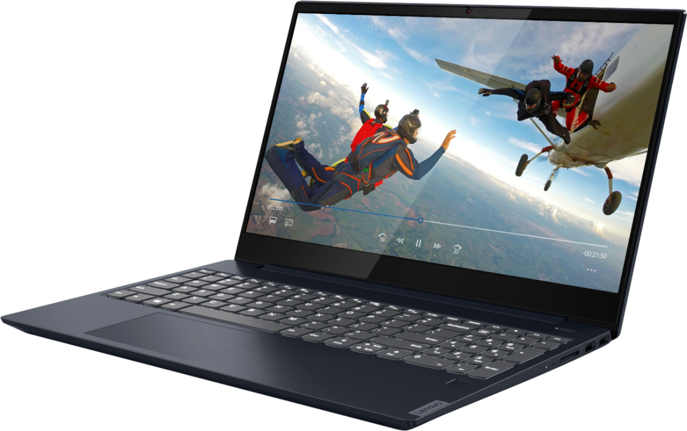 """Left Zoom. Lenovo - IdeaPad S340 15"""" Touch-Screen Laptop - AMD Ryzen 7 3700U - 12GB Memory - 512GB Solid State Drive - Abyss Blue."""