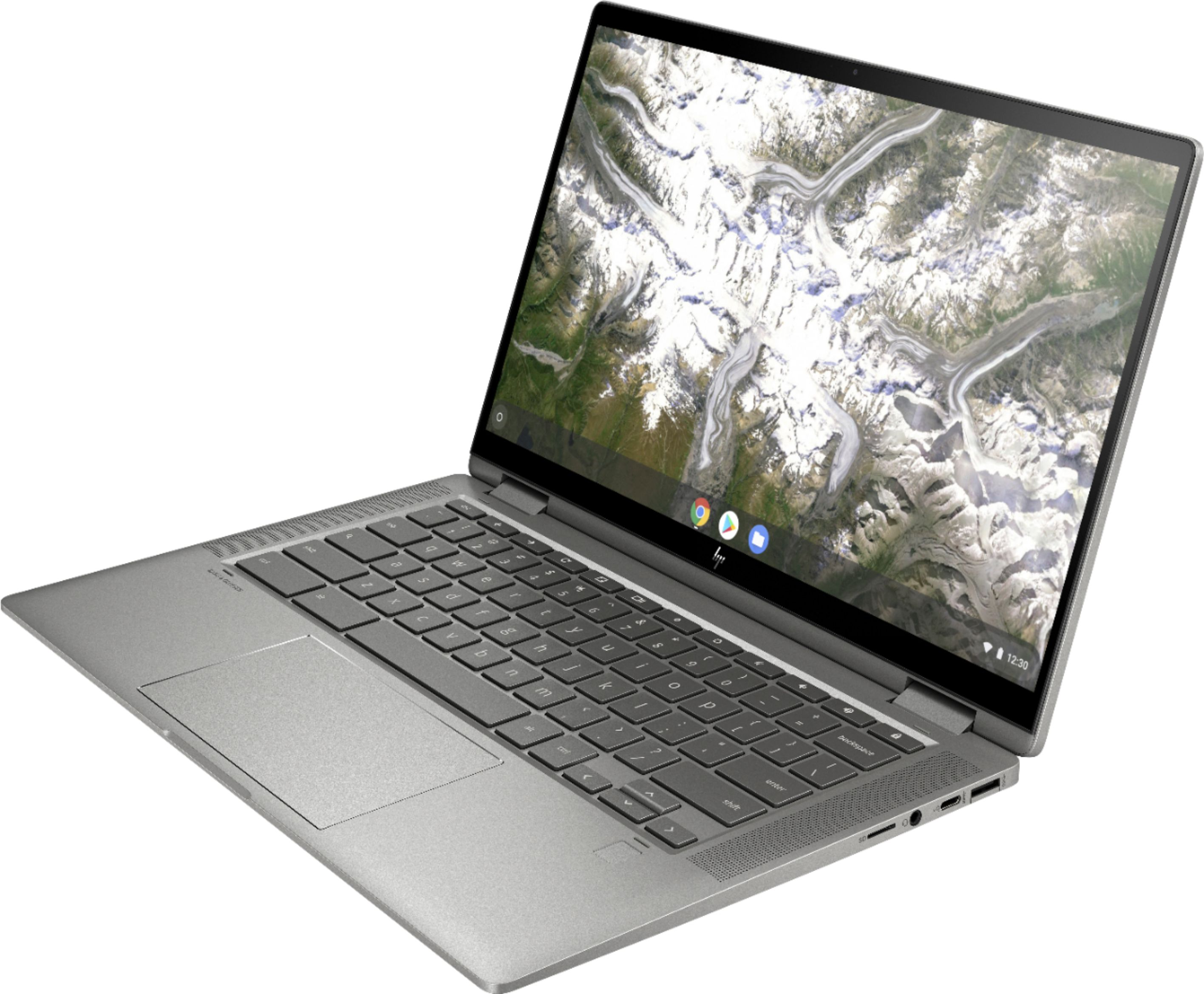 """Left Zoom. HP - 2-in-1 14"""" Touch-Screen Chromebook - Intel Core i3 - 8GB Memory - 64GB eMMC Flash Memory - Mineral Silver."""