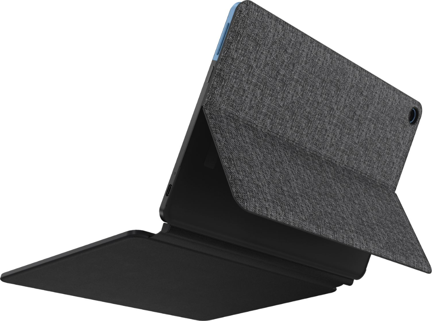 """Angle Zoom. Lenovo - Chromebook Duet - 10.1""""- Tablet - 128GB - With Keyboard - Ice Blue + Iron Gray."""