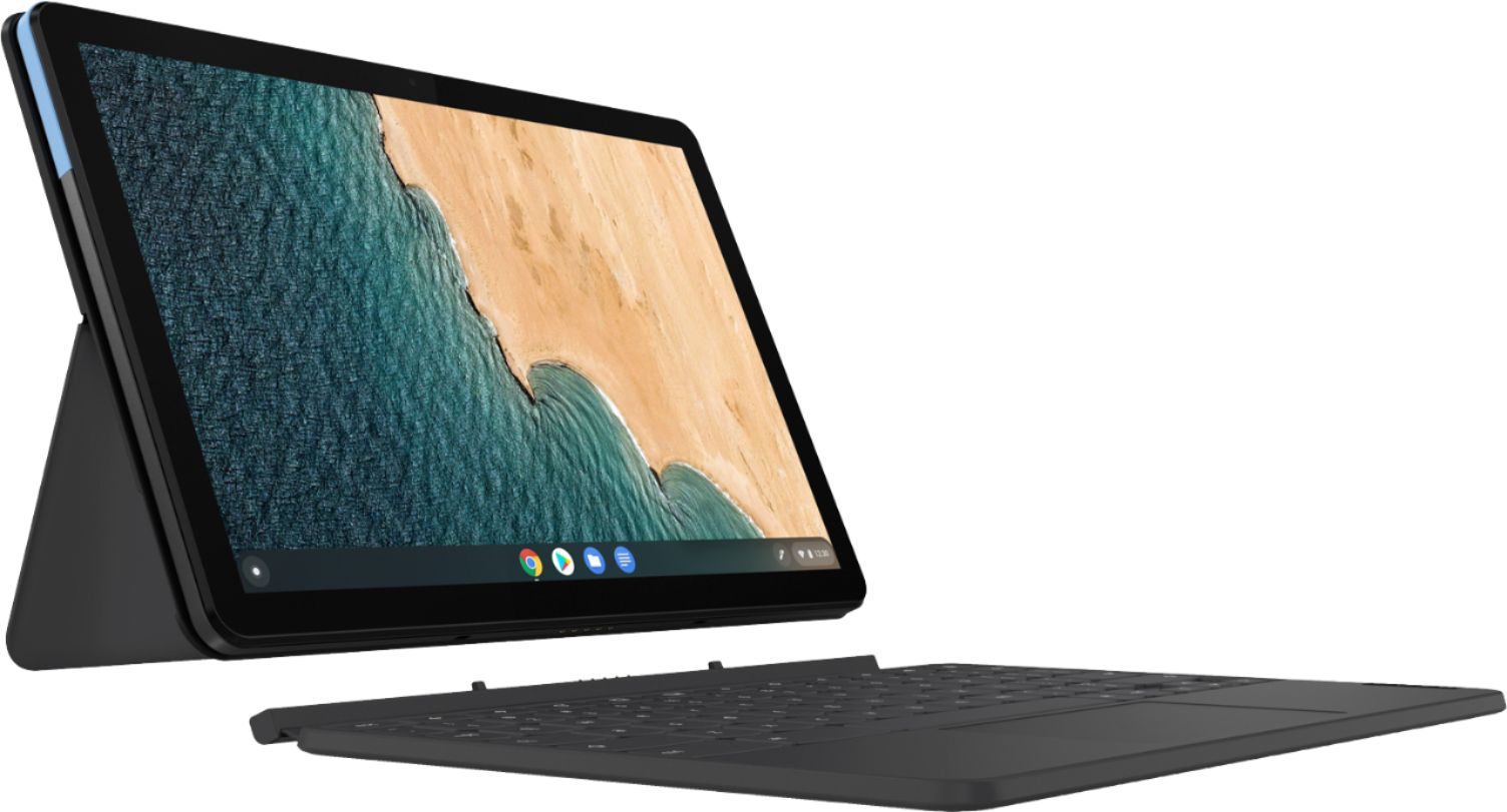 """Left Zoom. Lenovo - Chromebook Duet - 10.1""""- Tablet - 128GB - With Keyboard - Ice Blue + Iron Gray."""