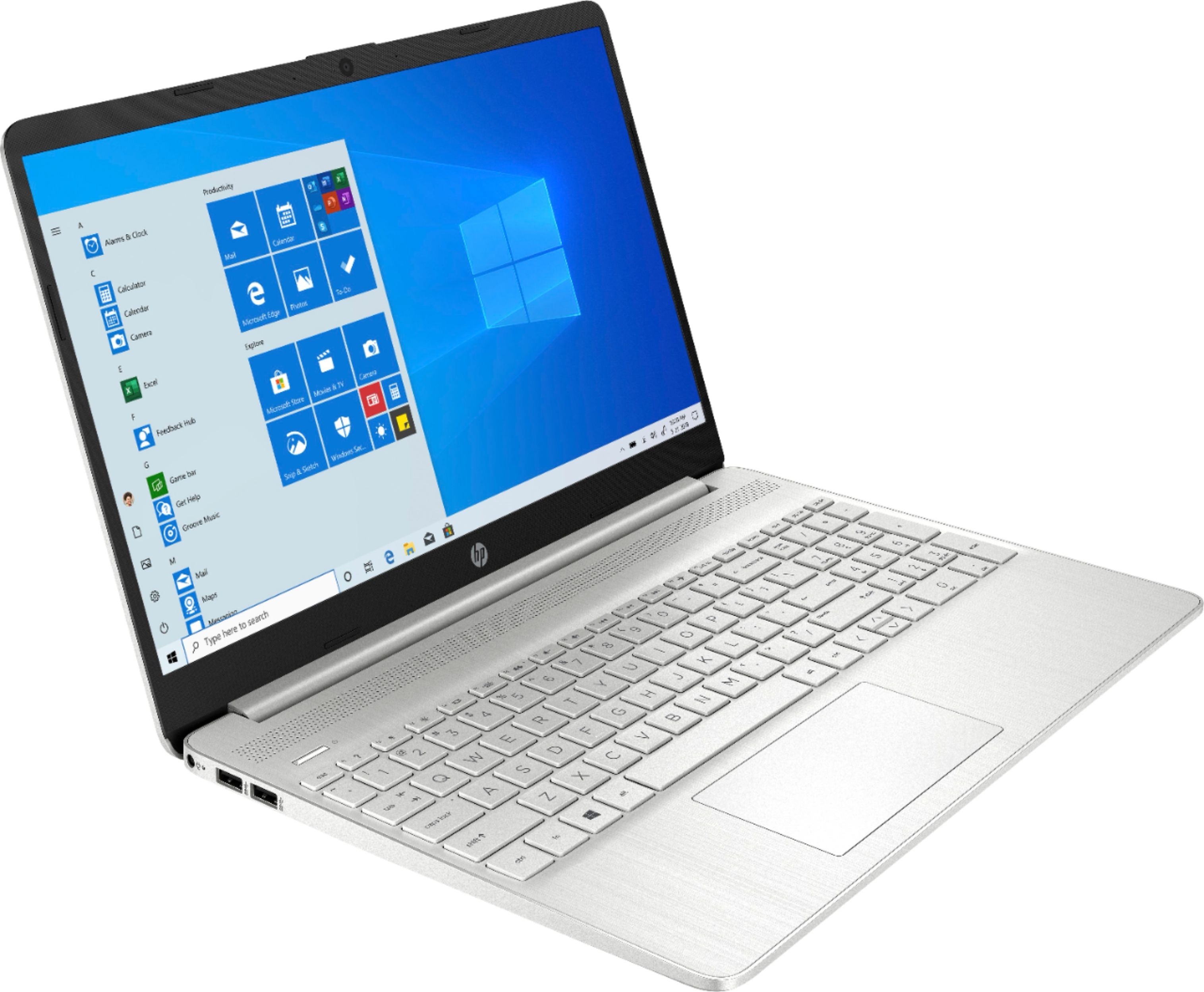 "Angle Zoom. HP - 15.6"" Touch-Screen Laptop - Intel Core i5 - 12GB Memory - 256GB SSD - Natural Silver."