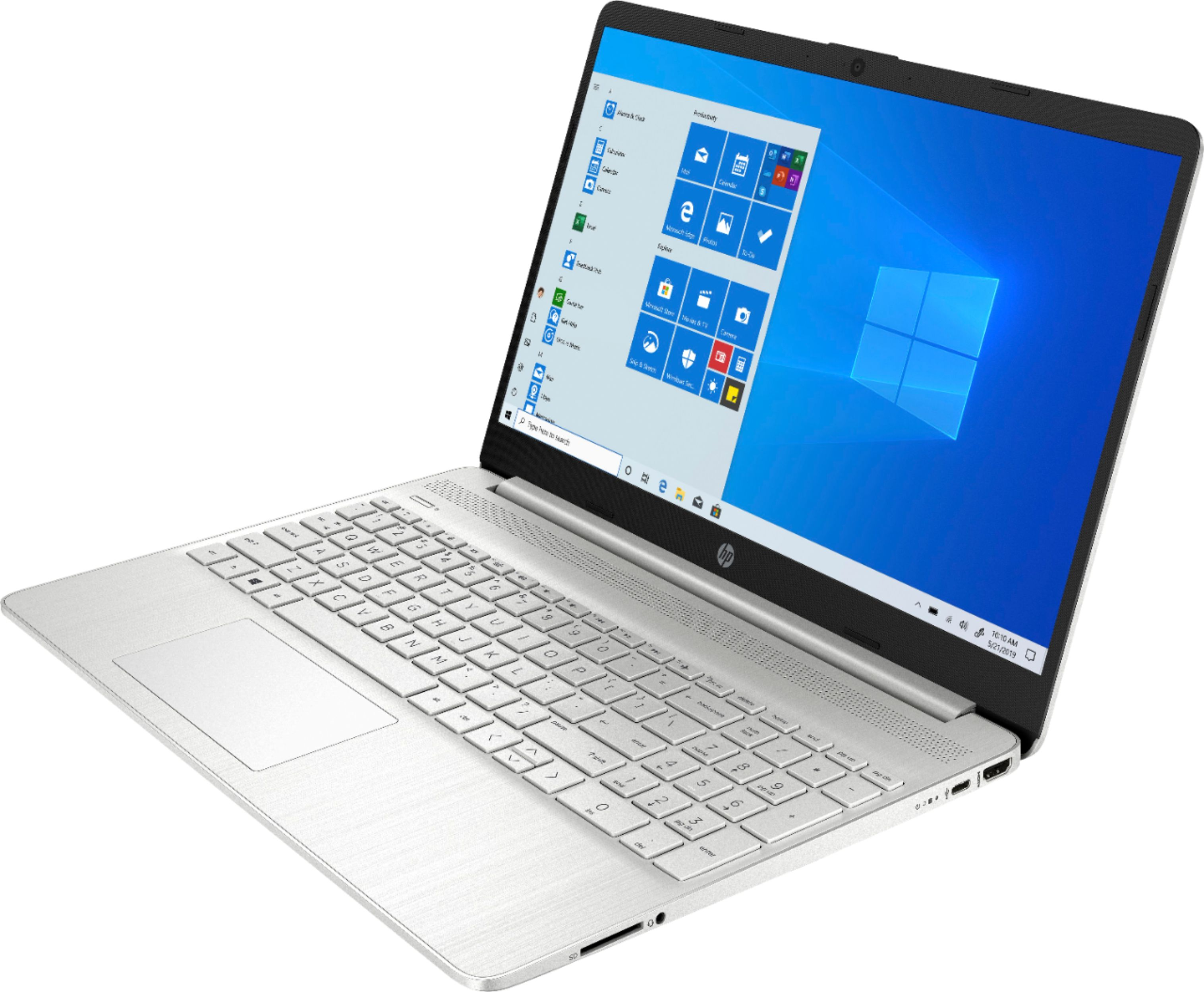 "Left Zoom. HP - 15.6"" Touch-Screen Laptop - Intel Core i5 - 12GB Memory - 256GB SSD - Natural Silver."