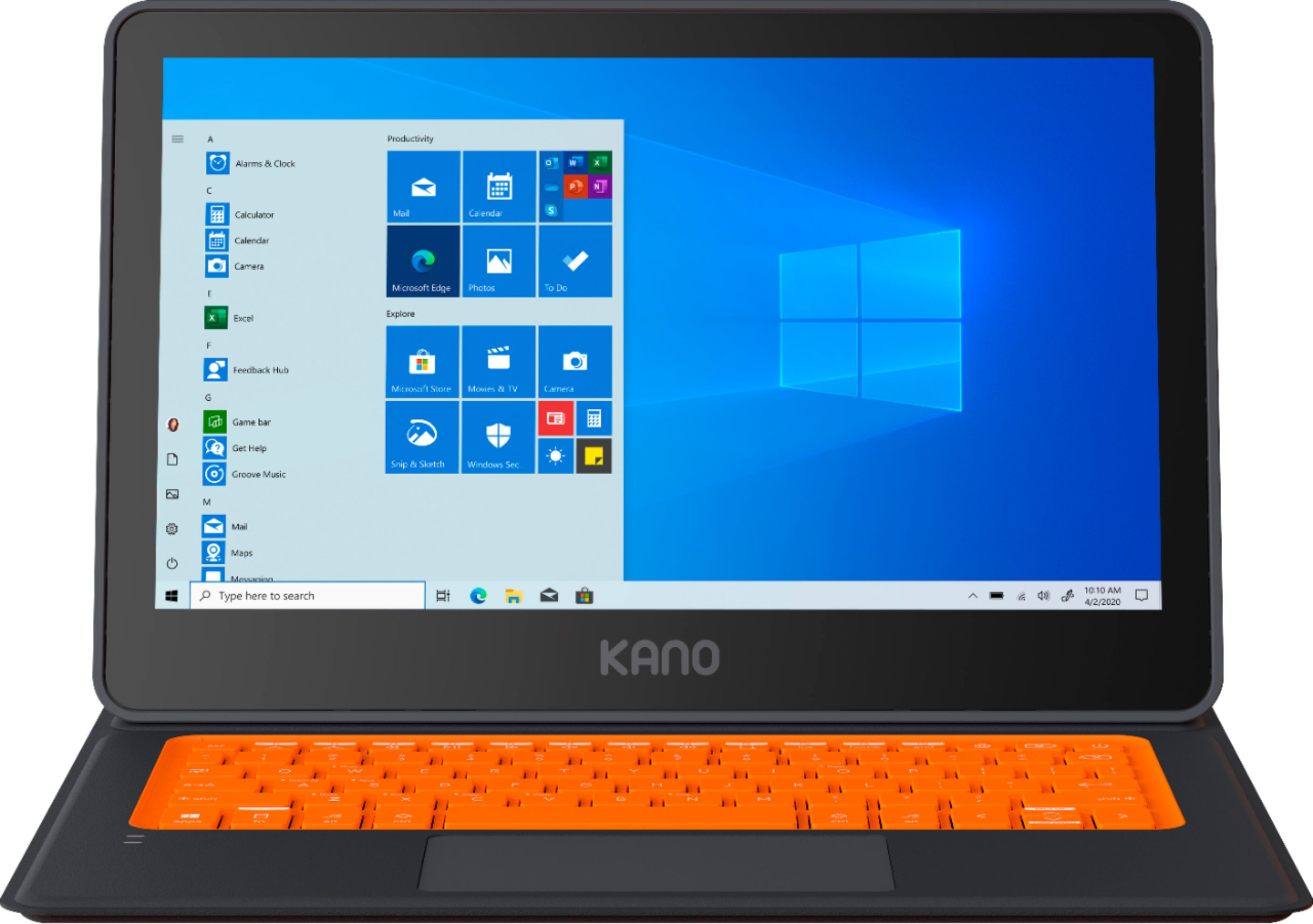 """Angle Zoom. Kano PC - 11.6"""" Kids Touch-Screen Laptop & Tablet - 1.10 GhZ Processor - Windows 10 - 4GB Memory - 64GB Storage - Black."""