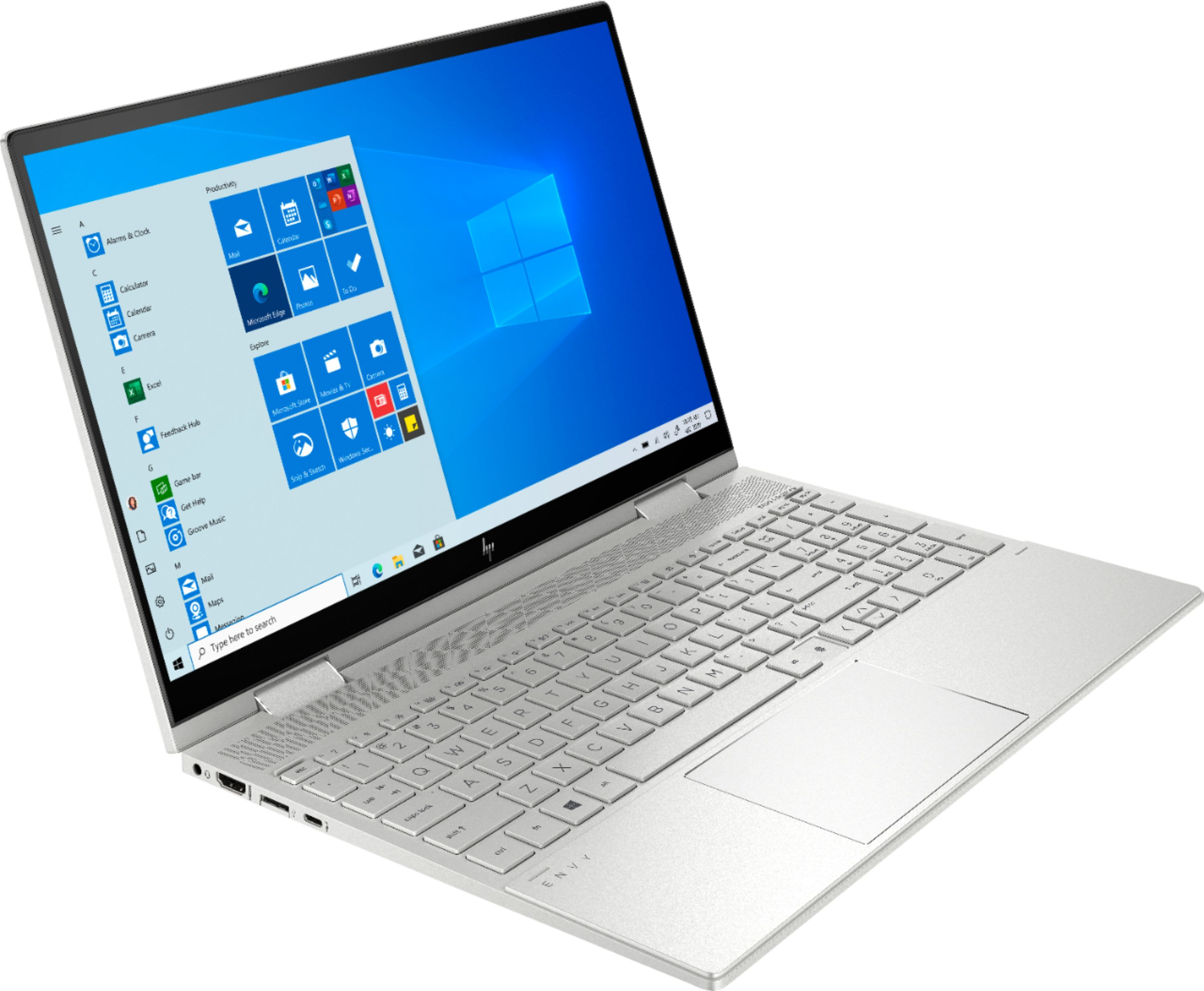 "Angle Zoom. HP - ENVY x360 2-in-1 15.6"" Touch-Screen Laptop - Intel Core i7 - 12GB Memory - 512GB SSD + 32GB Optane - Natural Silver."