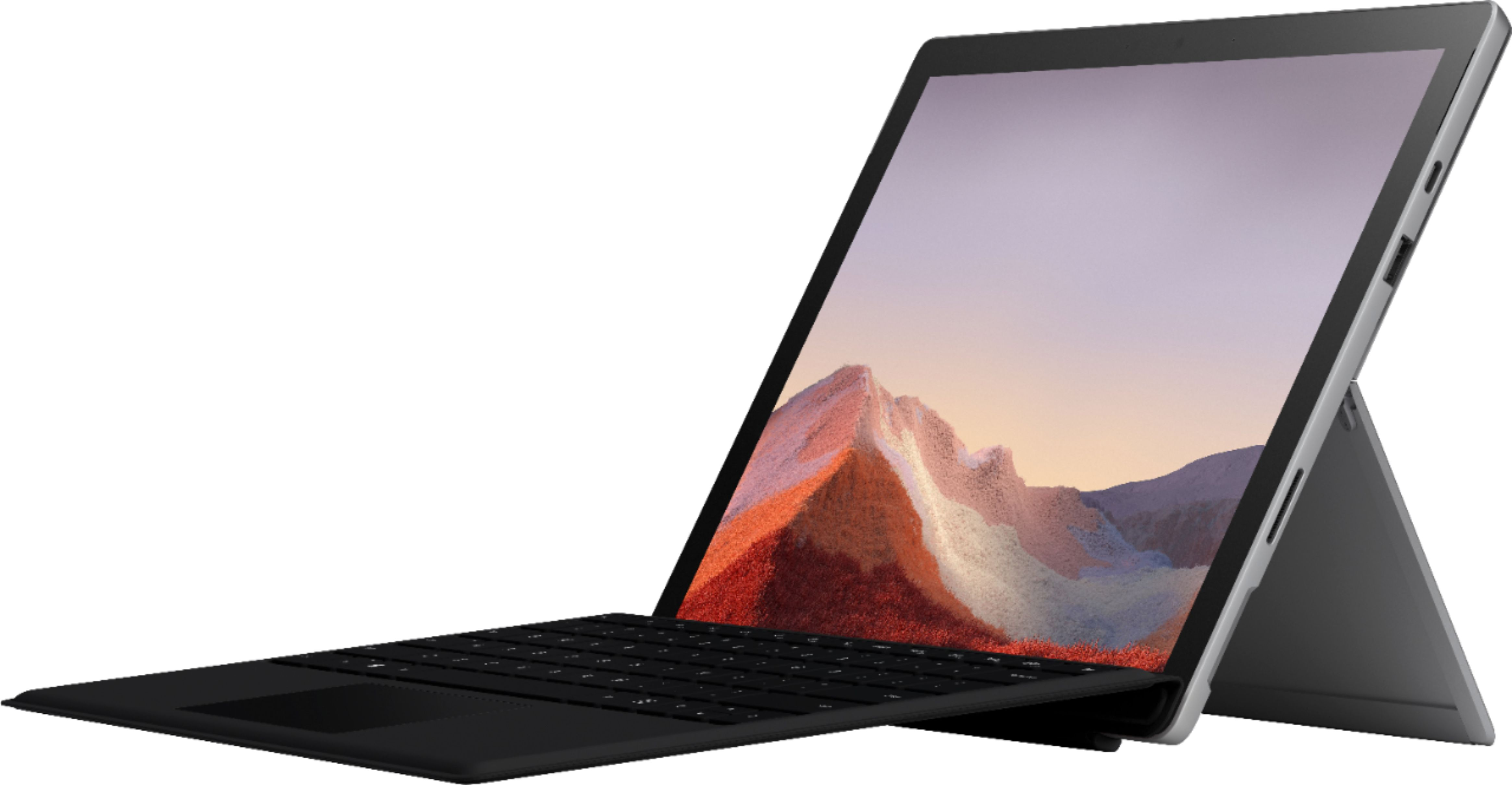"""Front Zoom. Microsoft - Surface Pro 7 - 12.3"""" Touch Screen - Intel Core i5 - 8GB Memory - 128GB SSD with Black Type Cover (Latest Model) - Platinum."""