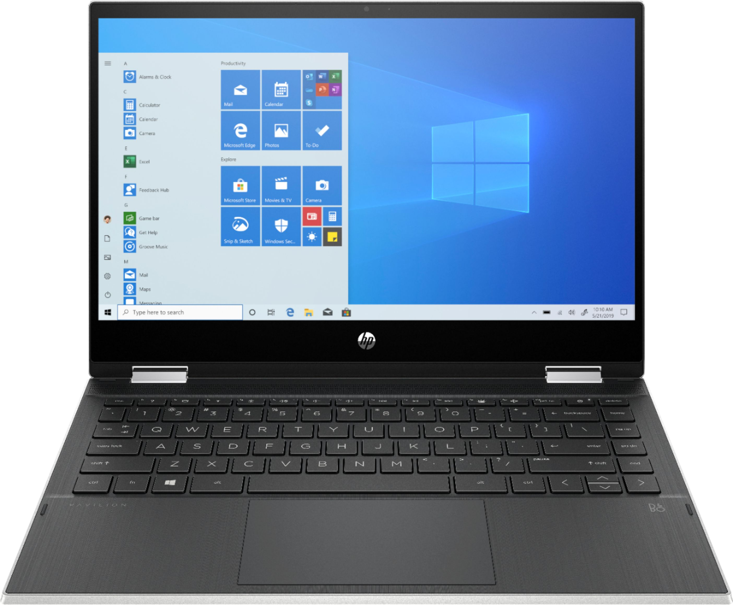 """Front Zoom. HP - Pavilion x360 2-in-1 14"""" Touch-Screen Laptop - Intel Core i3 - 8GB Memory - 128GB SSD - Natural Silver."""