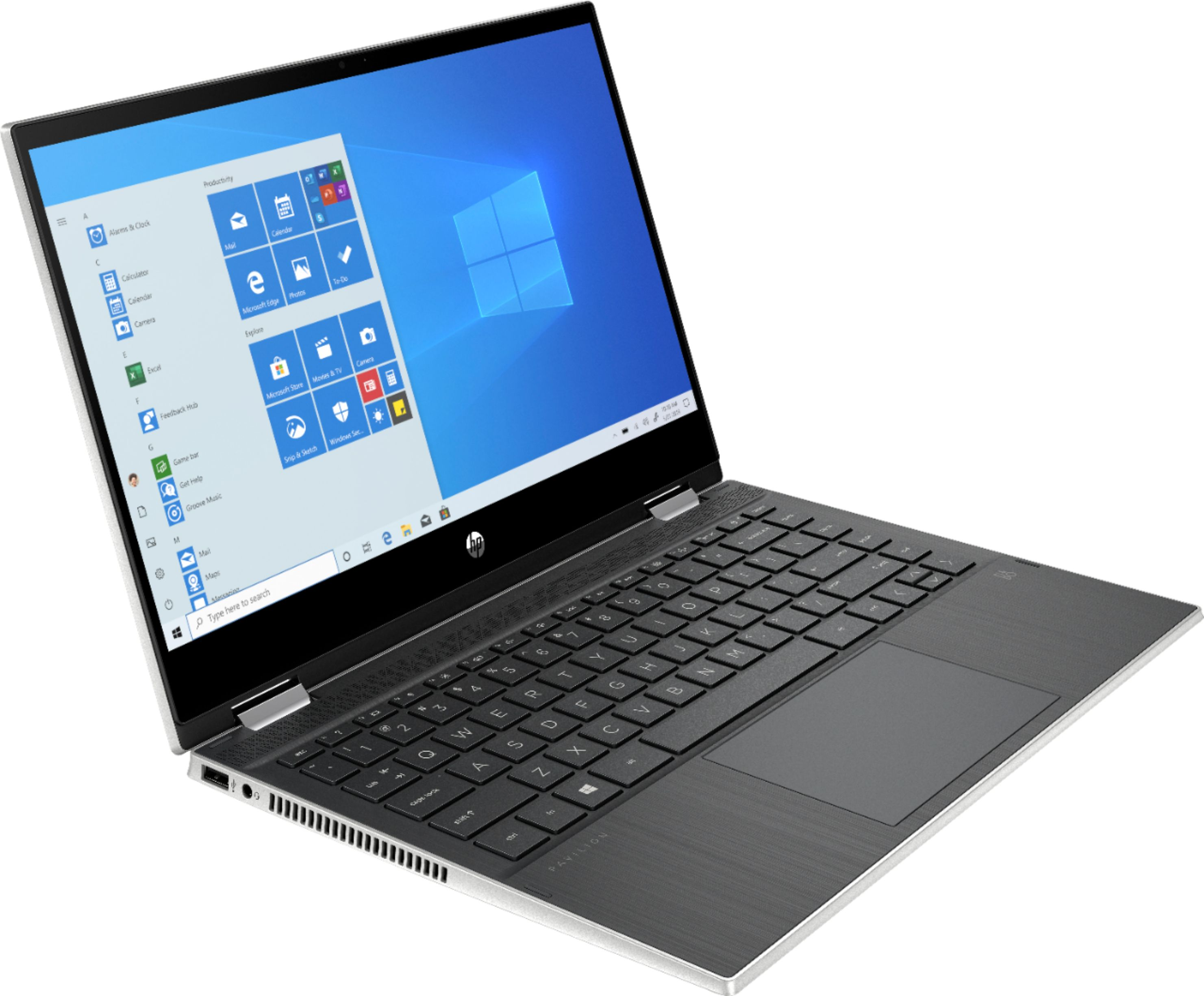 """Angle Zoom. HP - Pavilion x360 2-in-1 14"""" Touch-Screen Laptop - Intel Core i3 - 8GB Memory - 128GB SSD - Natural Silver."""