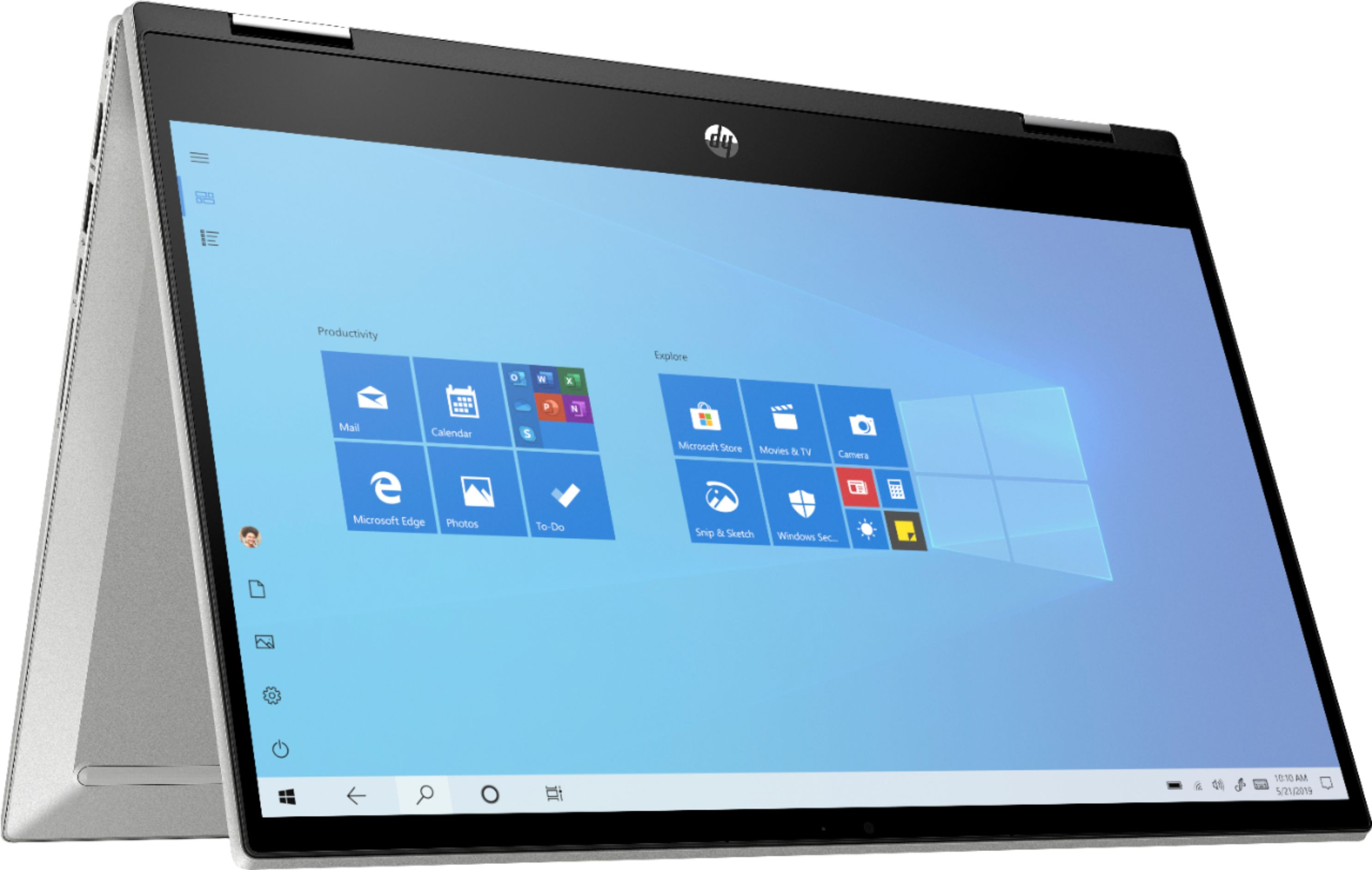 """Left Zoom. HP - Pavilion x360 2-in-1 14"""" Touch-Screen Laptop - Intel Core i3 - 8GB Memory - 128GB SSD - Natural Silver."""