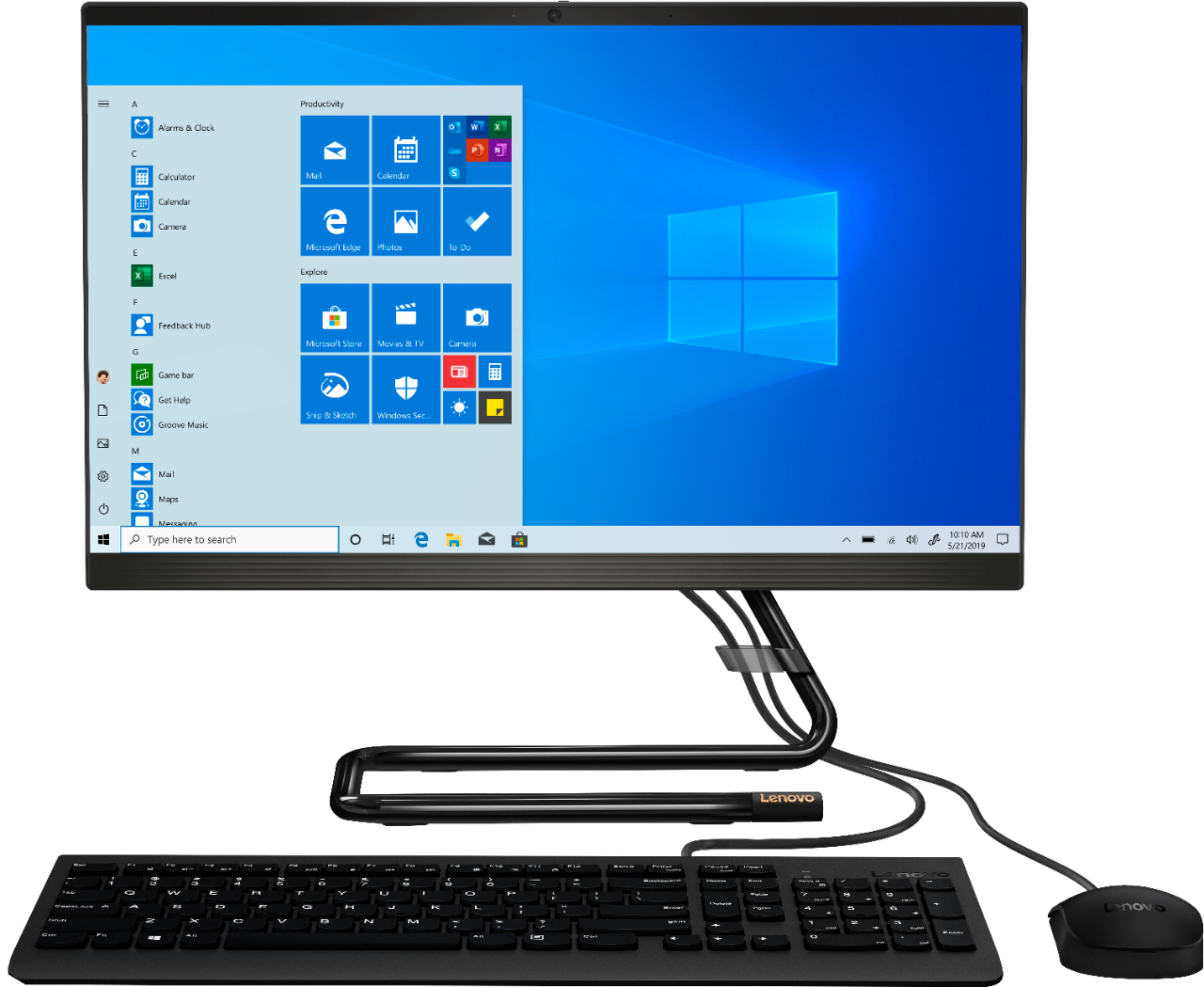 """Front Zoom. Lenovo - IdeaCentre A340-22IGM 21.5"""" Touch-Screen All-In-One - Intel Pentium Silver - 8GB Memory - 1TB Hard Drive - Black."""