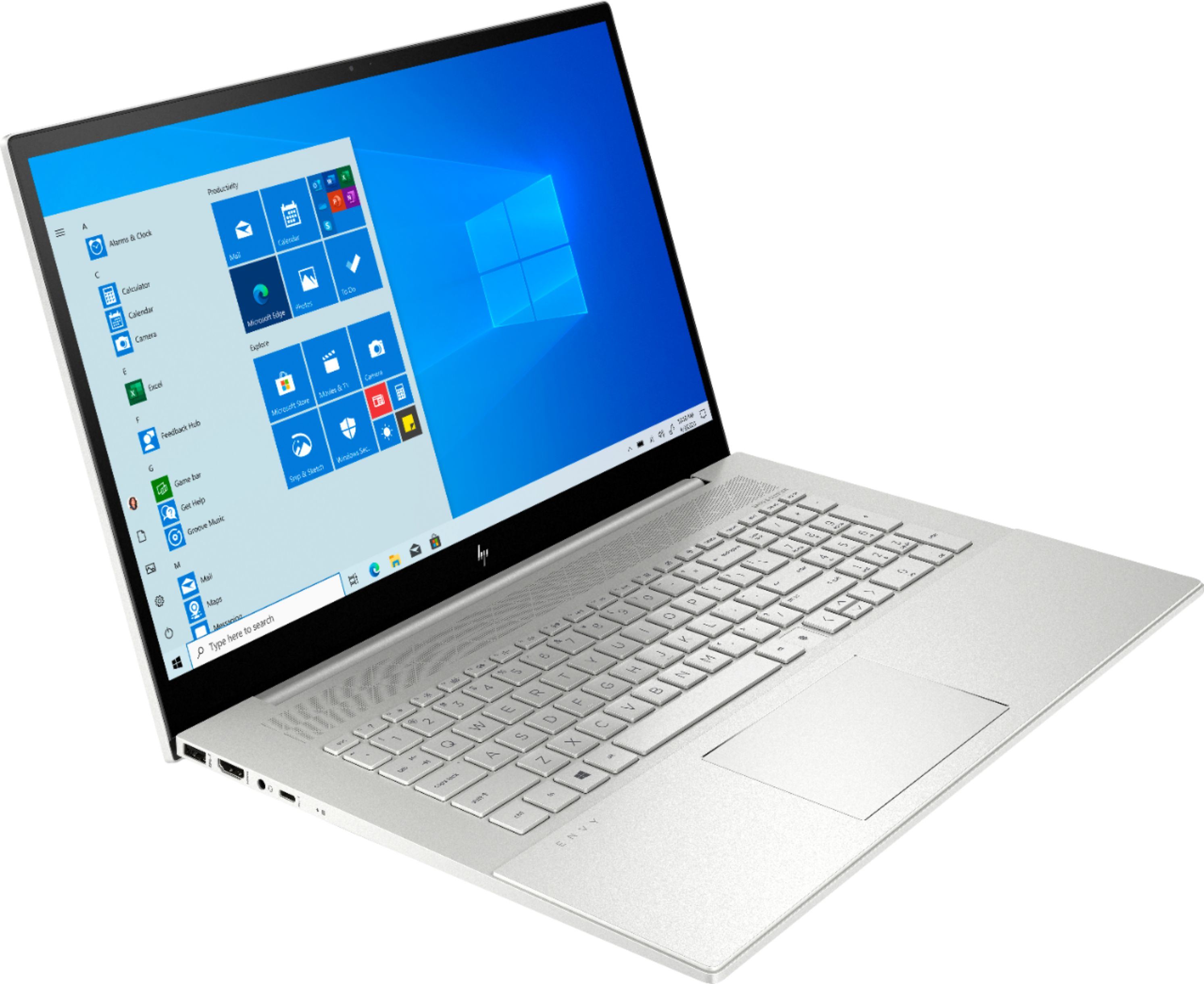 """Angle Zoom. HP - ENVY 17.3"""" Touch-Screen Laptop - Intel Core i7 - 12GB Memory - 512GB SSD + 32GB Optane - Natural Silver."""