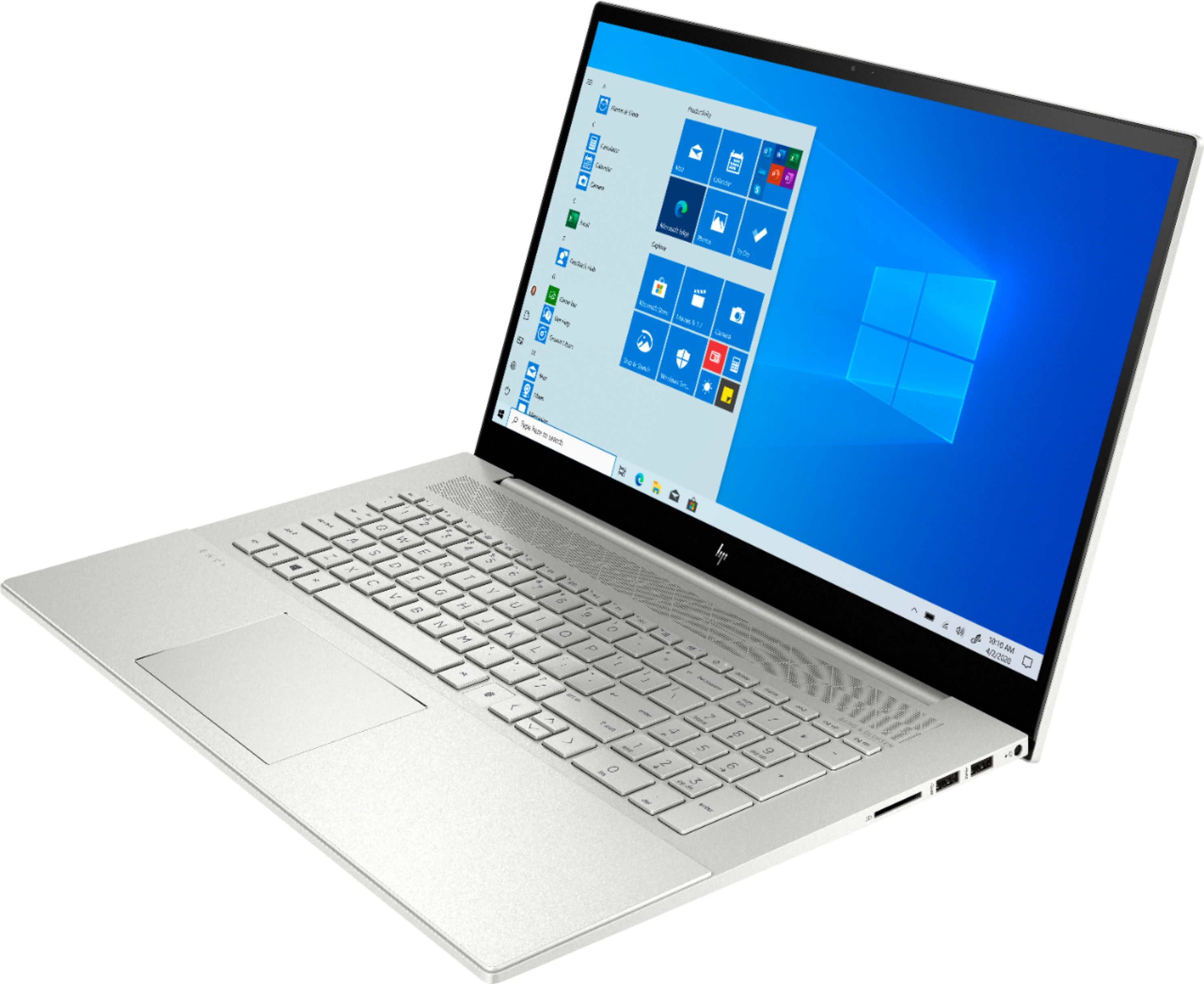 """Left Zoom. HP - ENVY 17.3"""" Touch-Screen Laptop - Intel Core i7 - 12GB Memory - 512GB SSD + 32GB Optane - Natural Silver."""
