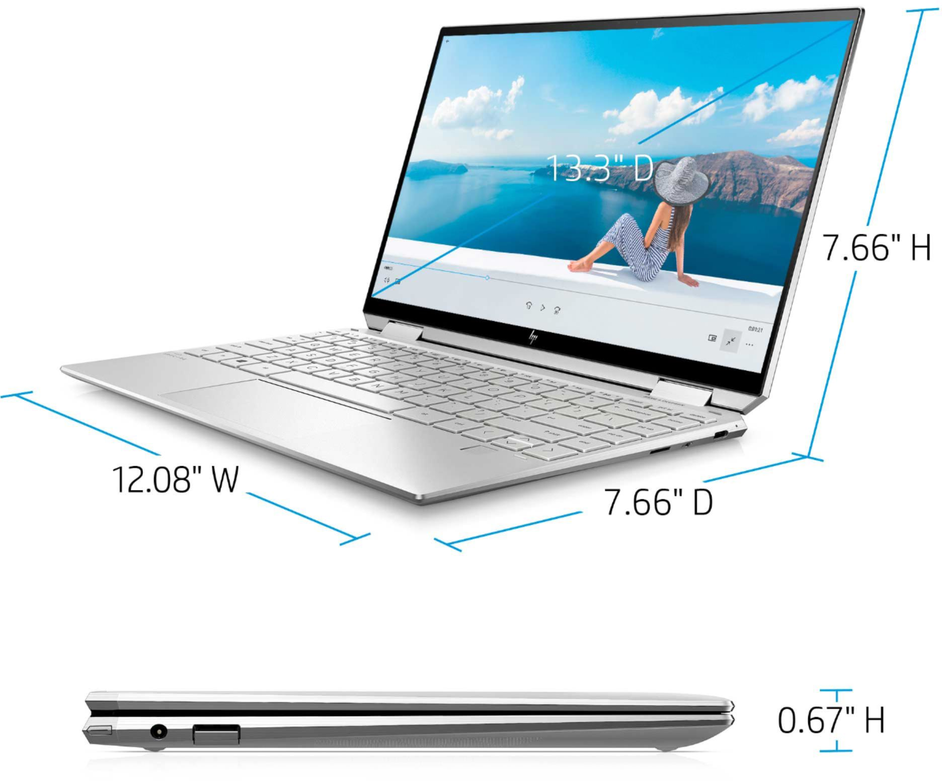 """Alt View Zoom 12. HP - Spectre x360 2-in-1 13.3"""" 4K Ultra HD Touch-Screen Laptop - Intel Core i5 - 8GB Memory - 256GB SSD - Natural Silver."""