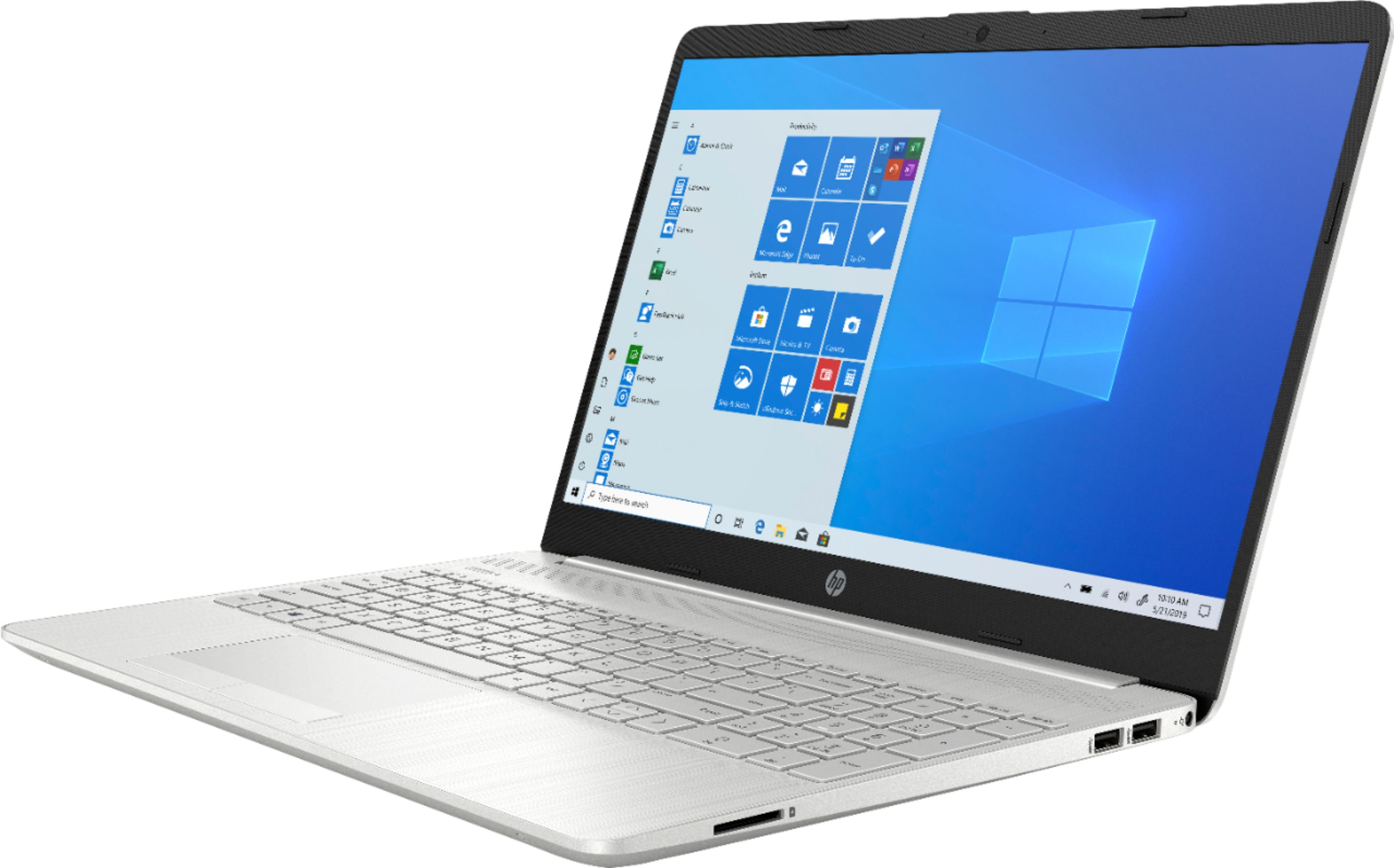 """Left Zoom. HP - 15.6"""" Touch-Screen Laptop - AMD Ryzen 5 - 12GB Memory - 1TB HDD + 128GB SSD - Natural Silver."""
