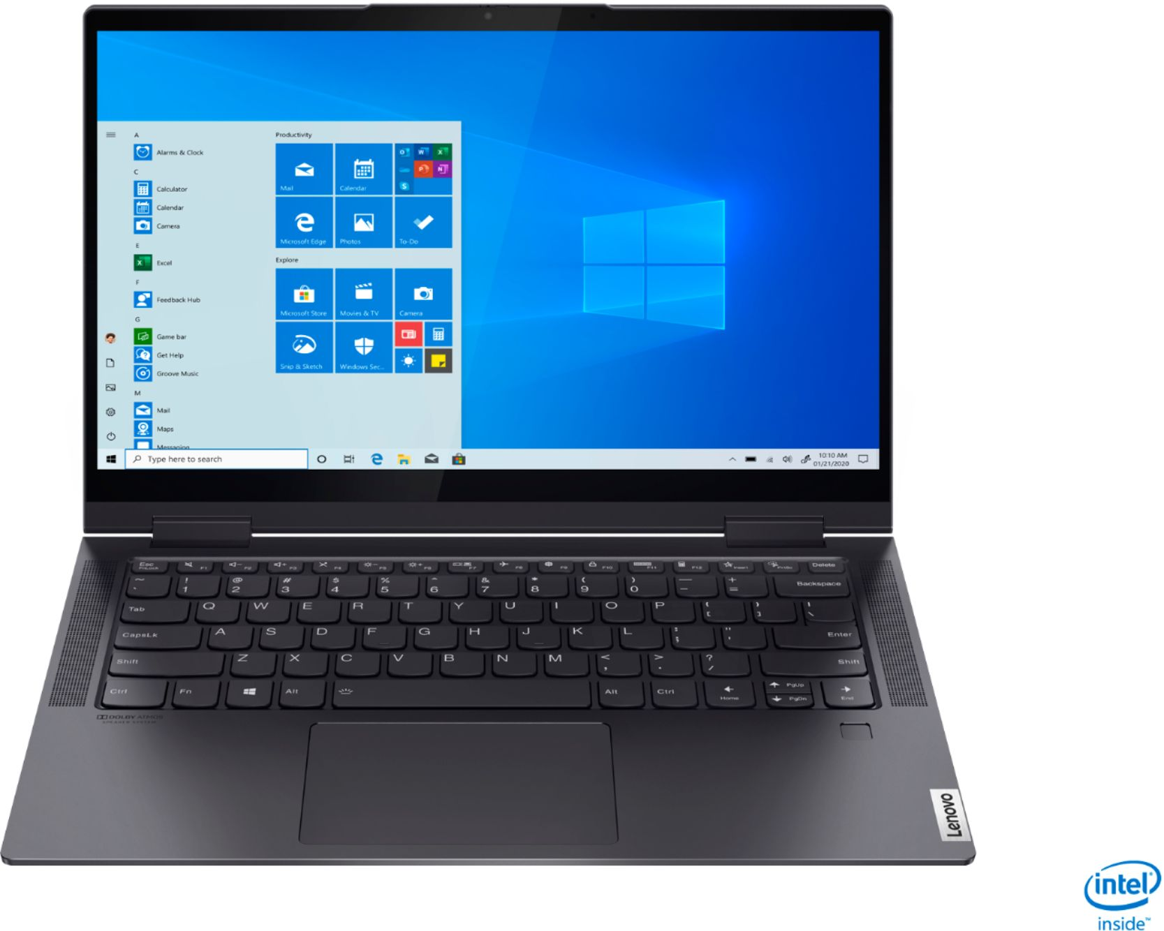 """Front Zoom. Lenovo - Yoga 7i 2-in-1 14"""" Touch Screen Laptop - Intel Evo Platform Core i7 - 12GB Memory - 512GB Solid State Drive - Slate Grey."""