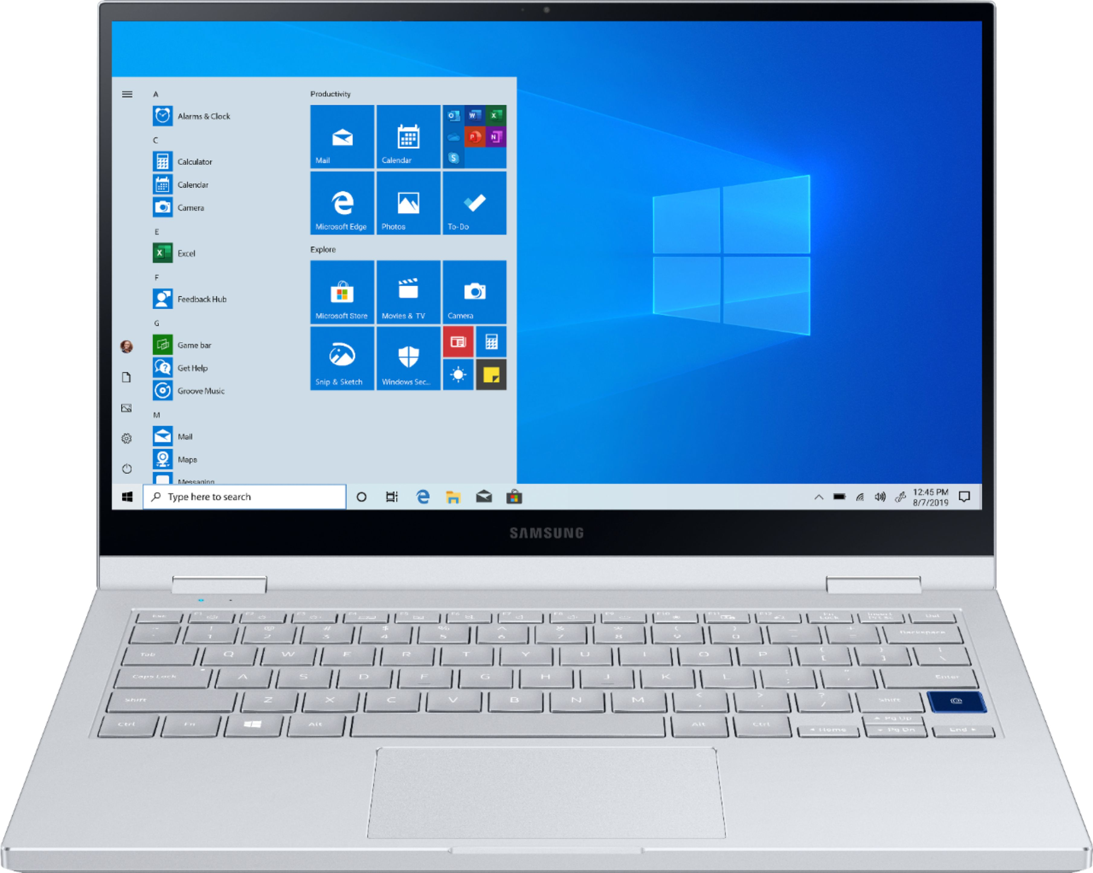 """Front Zoom. Samsung - Galaxy Book Flex Alpha 2-in-1 13.3"""" QLED Touch-Screen Laptop - Intel Core i5 - 8GB Memory - 256GB SSD - Royal Silver."""