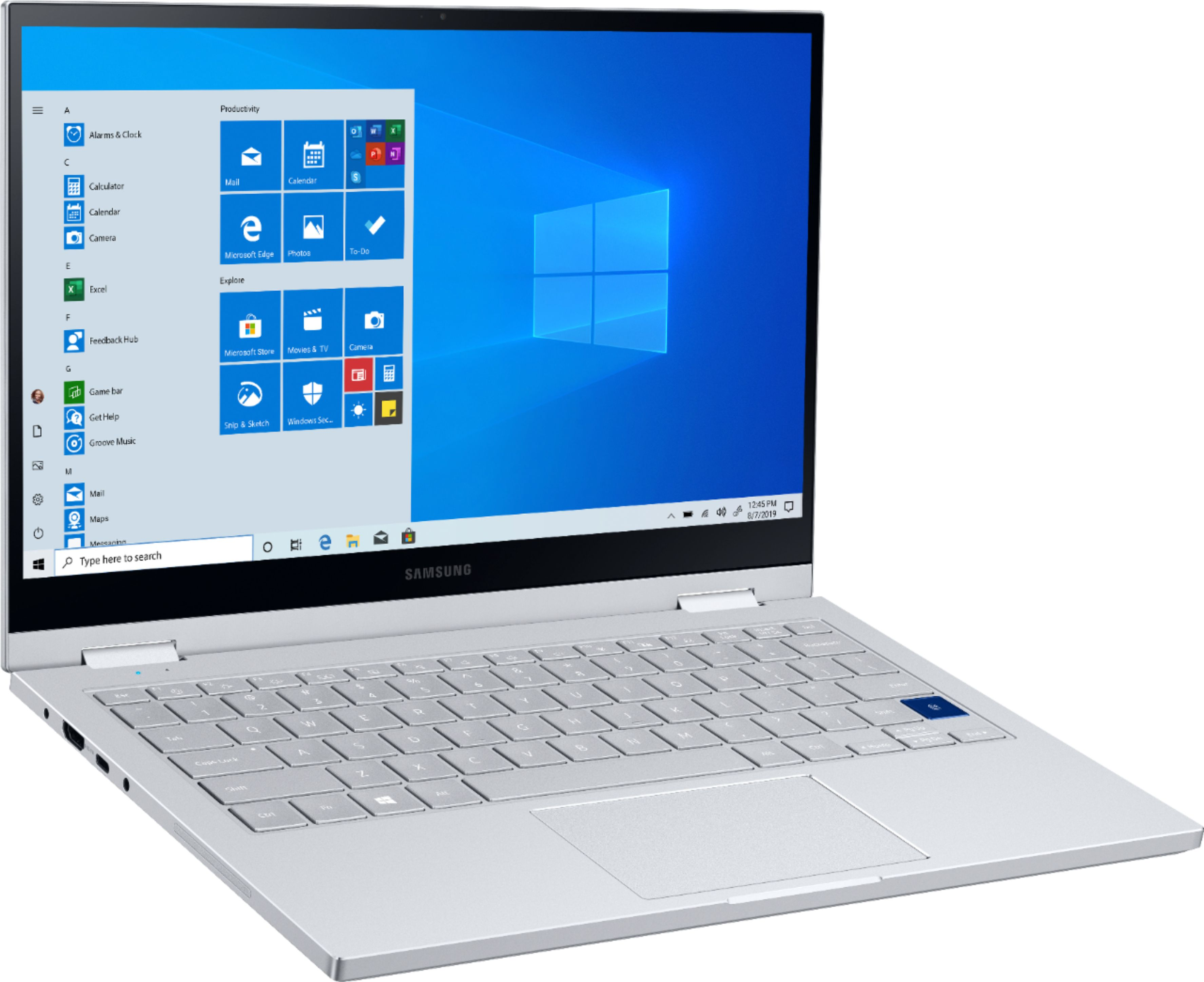 """Left Zoom. Samsung - Galaxy Book Flex Alpha 2-in-1 13.3"""" QLED Touch-Screen Laptop - Intel Core i5 - 8GB Memory - 256GB SSD - Royal Silver."""