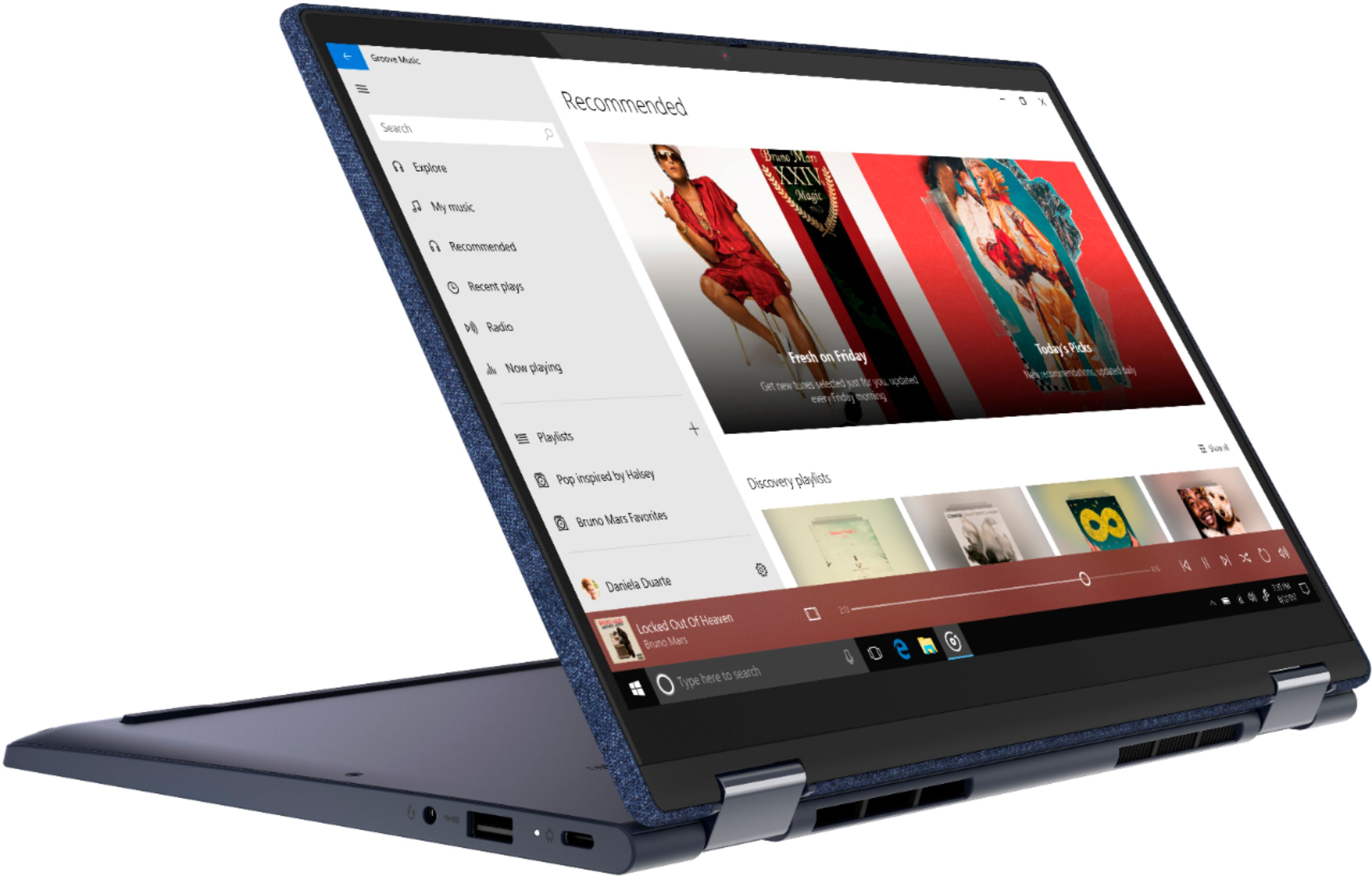 """Left Zoom. Lenovo Yoga 6 13 2-in-1 13.3"""" Touch Screen Laptop - AMD Ryzen 5 - 8GB Memory - 256GB SSD - Abyss Blue Fabric Cover."""