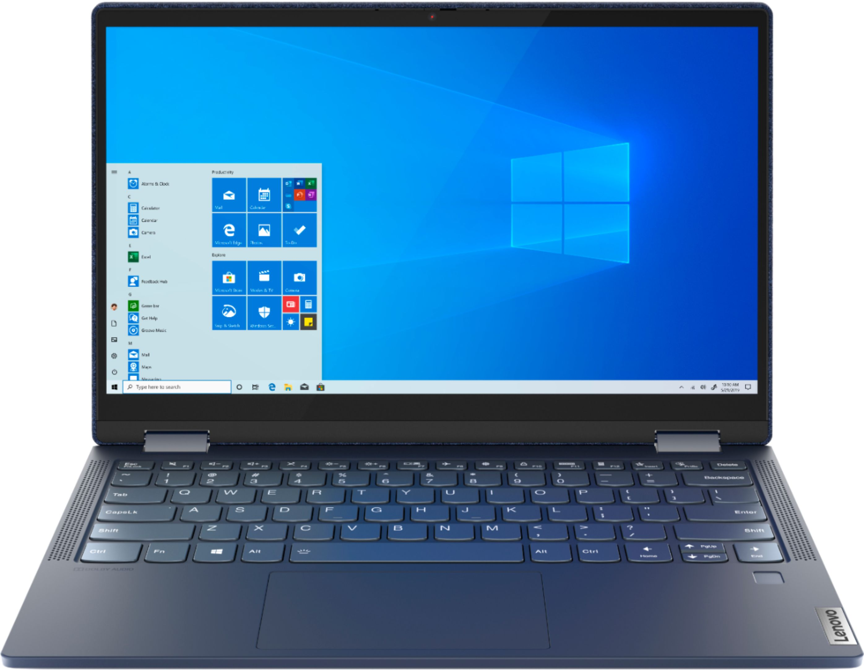 """Front Zoom. Lenovo Yoga 6 13 2-in-1 13.3"""" Touch Screen Laptop - AMD Ryzen 5 - 8GB Memory - 256GB SSD - Abyss Blue Fabric Cover."""