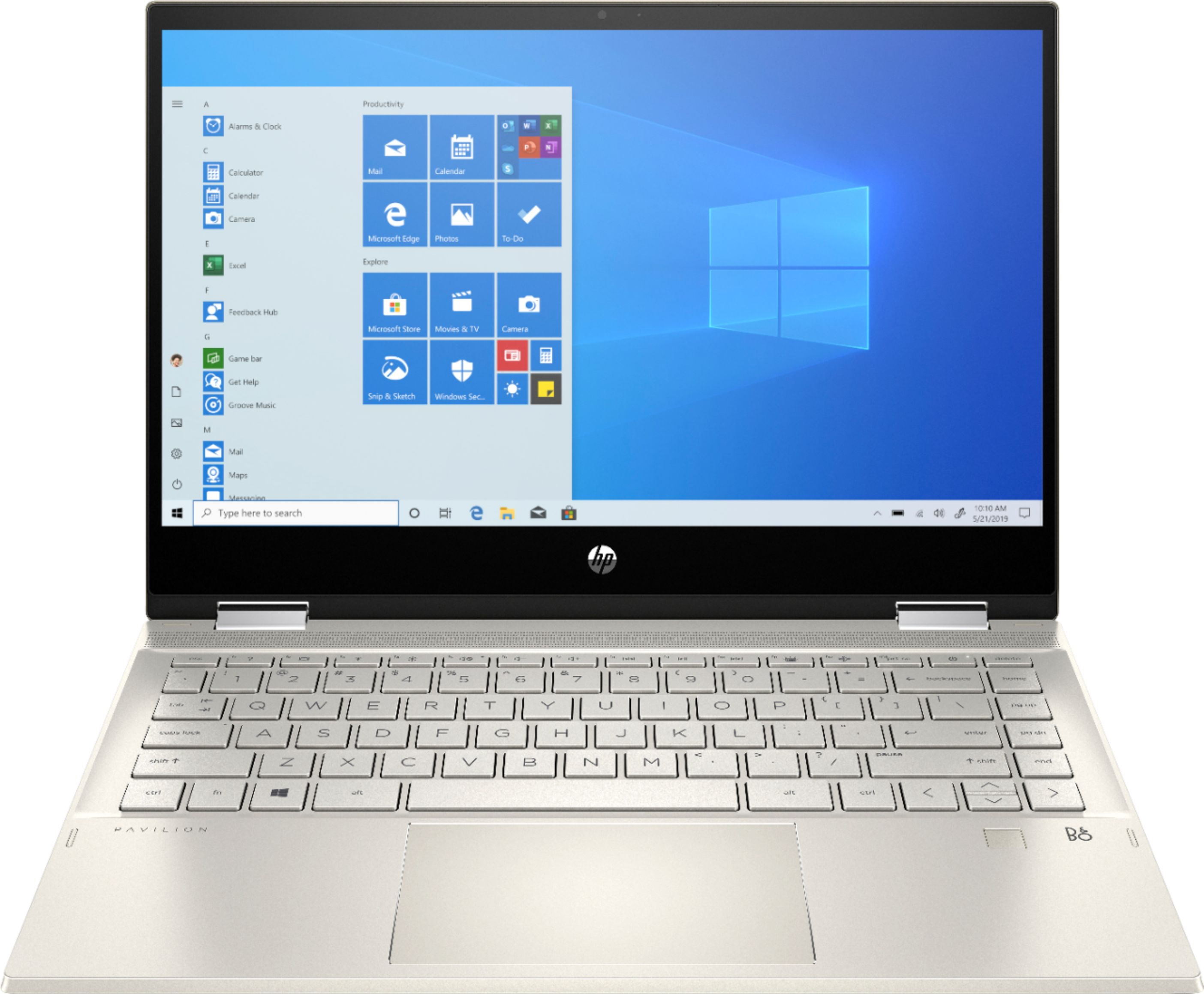 """Front Zoom. HP - Pavilion x360 2-in-1 14"""" Touch-Screen Laptop - Intel Core i5 - 8GB Memory - 512GB SSD + 32GB Optane - Warm Gold."""