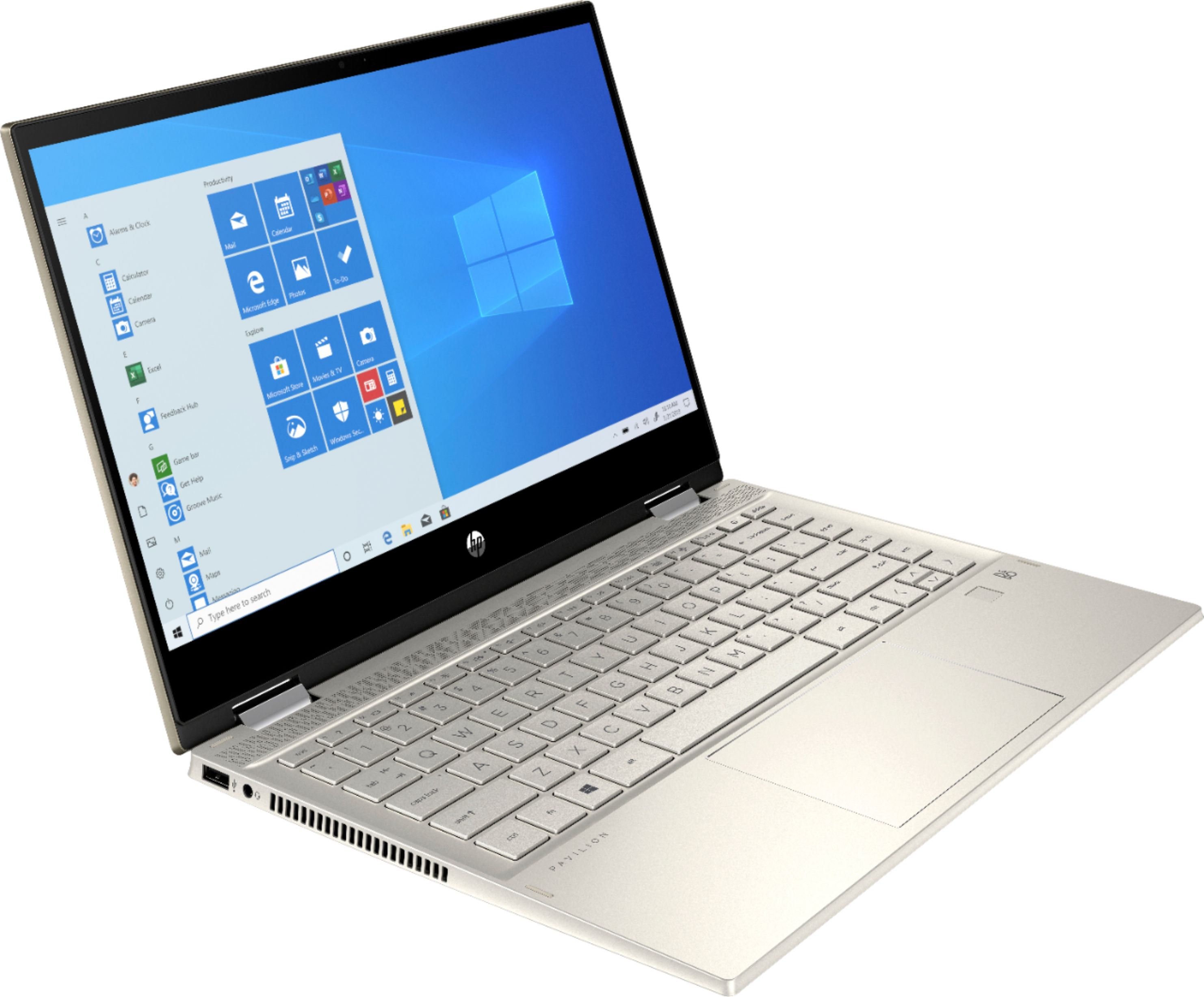 """Angle Zoom. HP - Pavilion x360 2-in-1 14"""" Touch-Screen Laptop - Intel Core i5 - 8GB Memory - 512GB SSD + 32GB Optane - Warm Gold."""