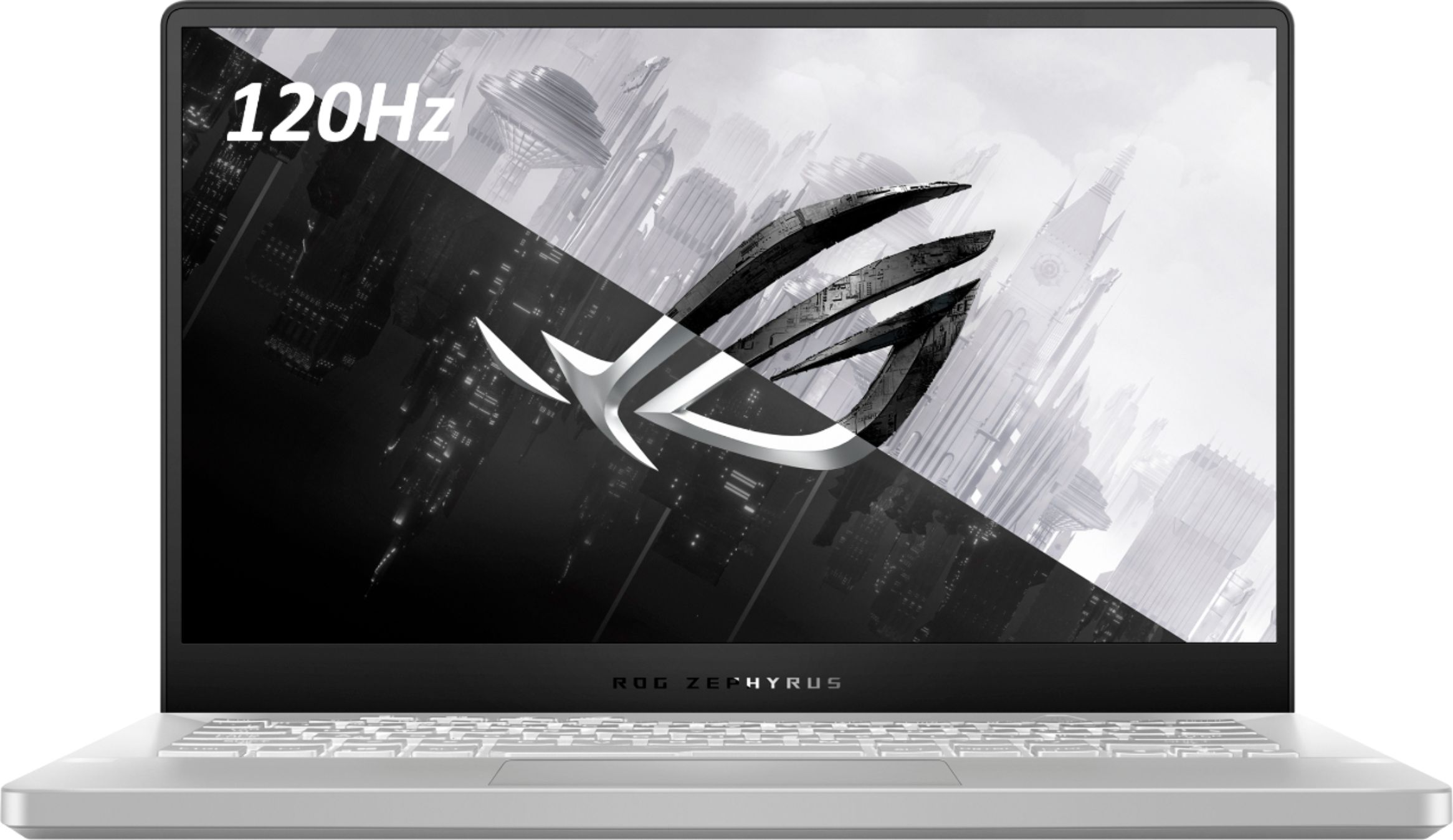 "Front Zoom. ASUS - ROG Zephyrus G14 14"" Gaming Laptop - AMD Ryzen 9 - 16GB Memory - NVIDIA GeForce RTX 2060 Max-Q - 1TB SSD - Moonlight White."