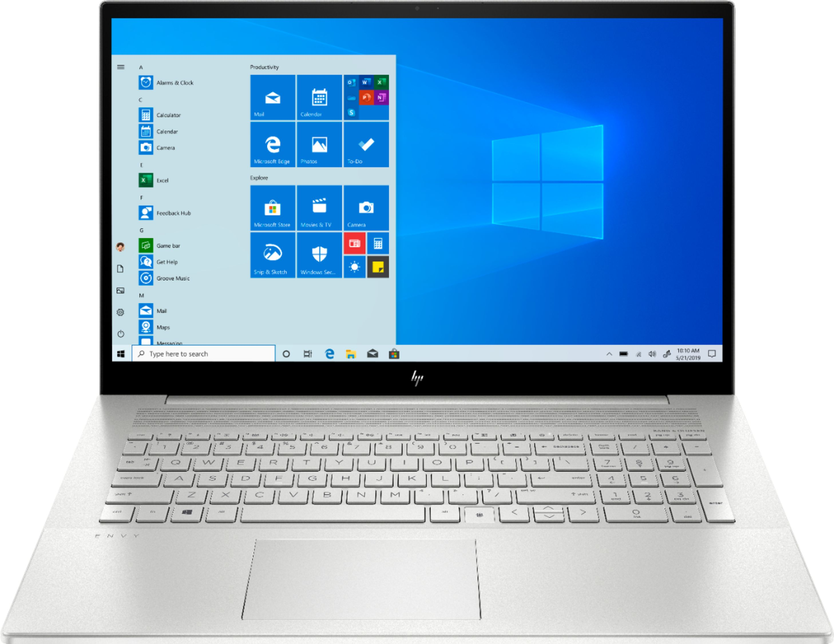 """Front Zoom. HP - ENVY 17.3"""" Touch-Screen Laptop - Intel Core i7 - 12GB Memory - 512GB SSD + 32GB Optane – NVIDIA GeForce MX330 - Natural Silver."""