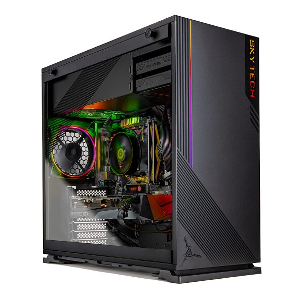 Front Zoom. Skytech Gaming – AZURE Gaming Desktop –  AMD Ryzen 5 3600 – NVIDIA GeForce RTX3070 – 1TB NVME SSD – 16GB Memory - Black.