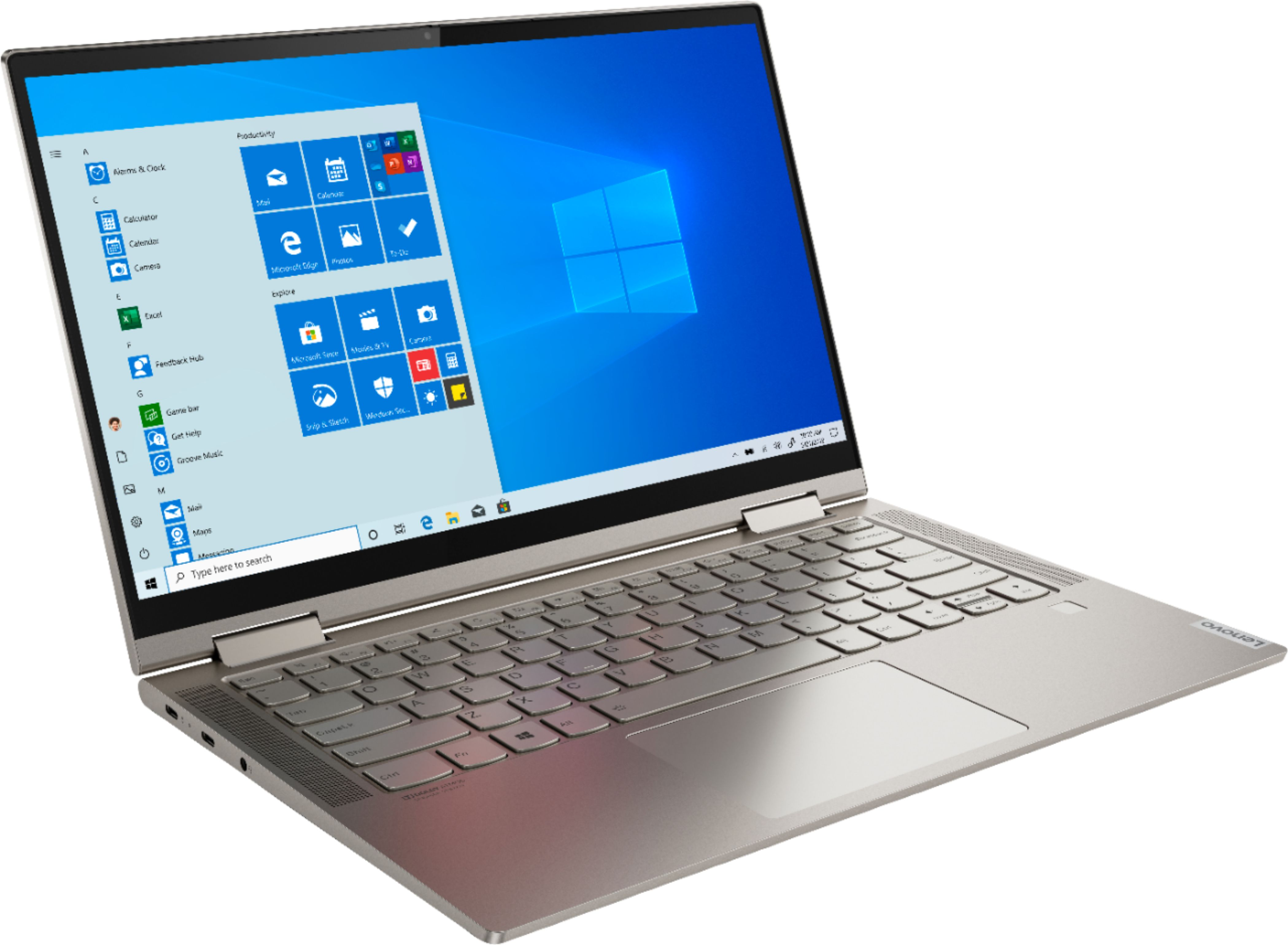 "Angle Zoom. Lenovo - Yoga C740 2-in-1 14"" Touch-Screen Laptop - Intel Core i5 - 8GB Memory - 256GB Solid State Drive - Mica."