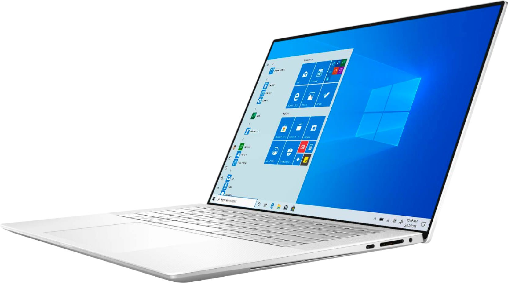 """Left Zoom. Dell - XPS 15.6"""" UHD+ Touch Laptop - Intel Core i7 - 16GB Memory - 512GB SSD - NVIDIA GeForce GTX 1650 Ti - White."""