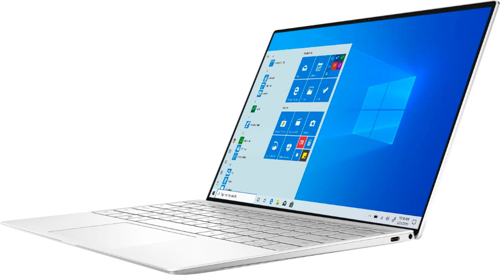 """Left Zoom. Dell - XPS 13.4"""" UHD+ Touch Laptop - Intel Core i7 - 16GB Memory - 512GB SSD - Frost White."""