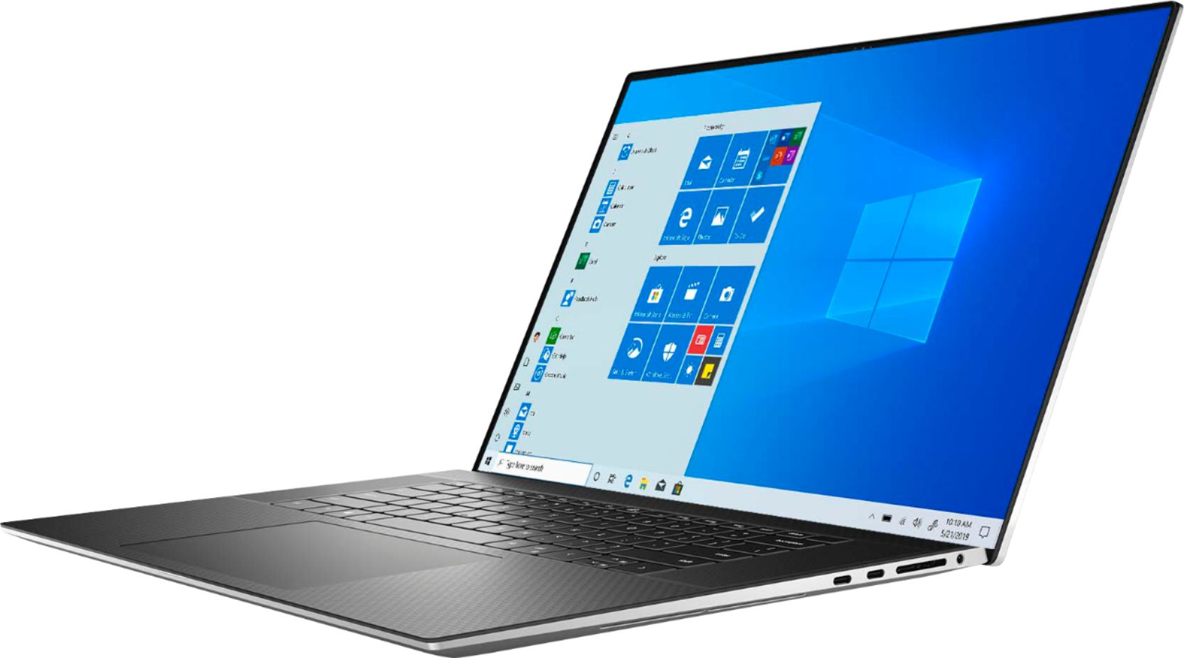 """Left Zoom. Dell - XPS 17"""" UHD+ Touch Laptop - Intel Core i7 - 16GB Memory - 1TB SSD - NVIDIA GeForce RTX 2060 - Silver cover, black interior."""