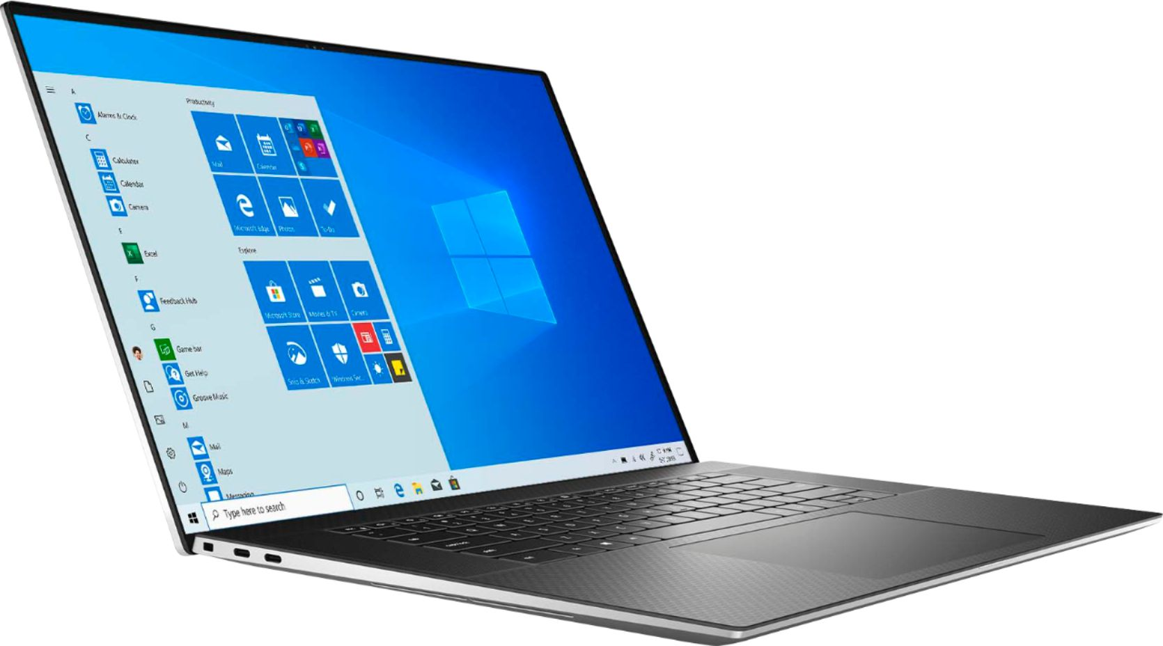 """Angle Zoom. Dell - XPS 17"""" UHD+ Touch Laptop - Intel Core i7 - 16GB Memory - 1TB SSD - NVIDIA GeForce RTX 2060 - Silver cover, black interior."""