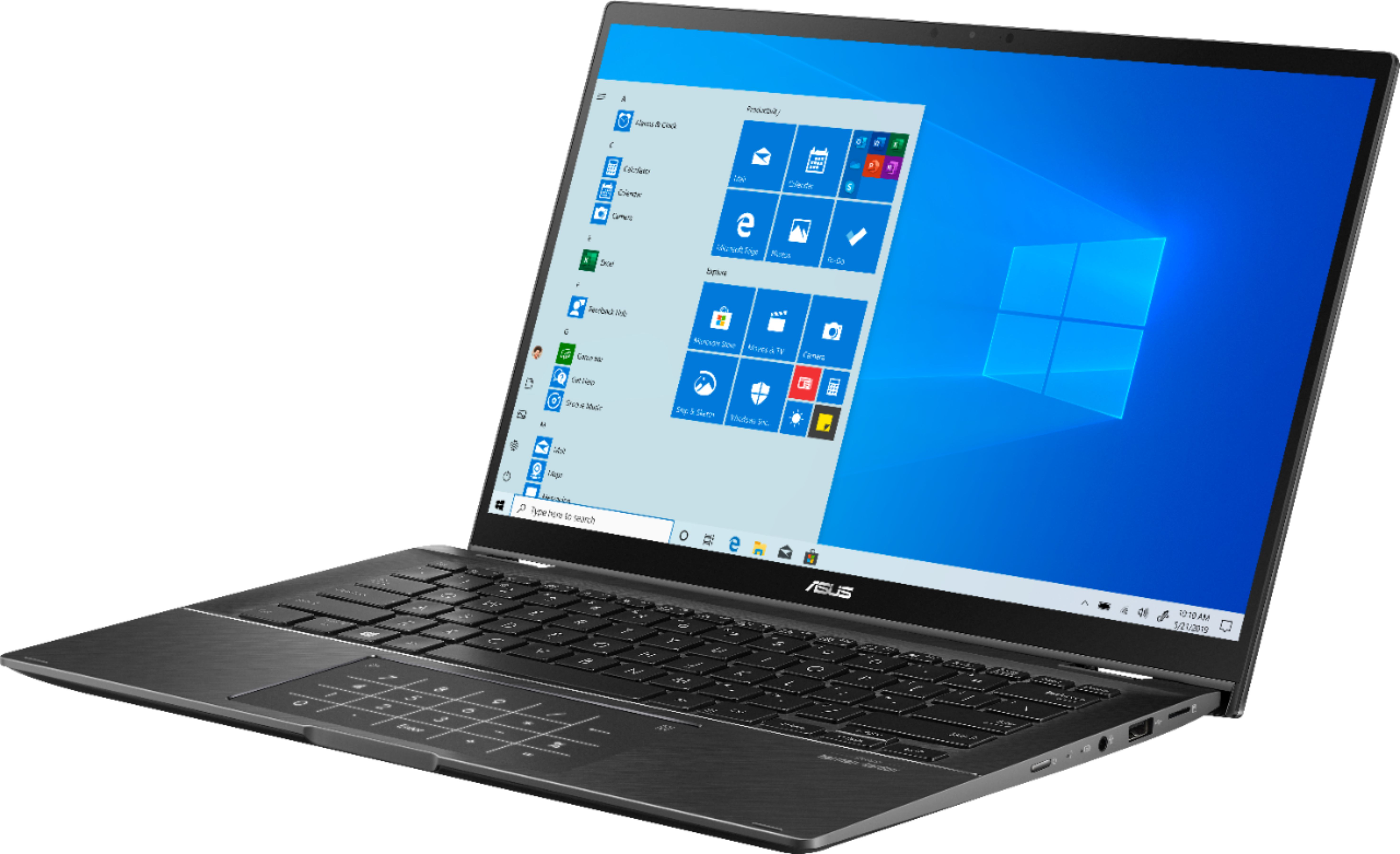 """Left Zoom. ASUS - Zenbook Flip 14"""" Touch-Screen Laptop - Intel Core i7 - 16GB Memory - NVIDIA GeForce MX250 - 512GB Solid State Drive - Gun Gray."""