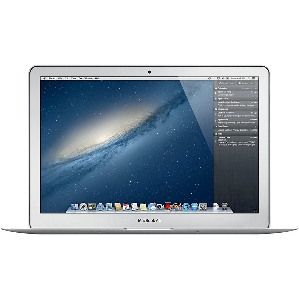 """Front Zoom. Apple - MacBook Air 13.3"""" Laptop - Intel Core i5 - 4GB Memory - 128GB Flash Storage - Pre-Owned - Silver."""